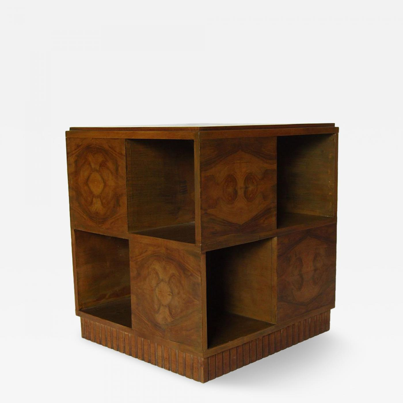 D I M Decoration Interieur Moderne French Art Deco Walnut Cubic Side Table By D I M