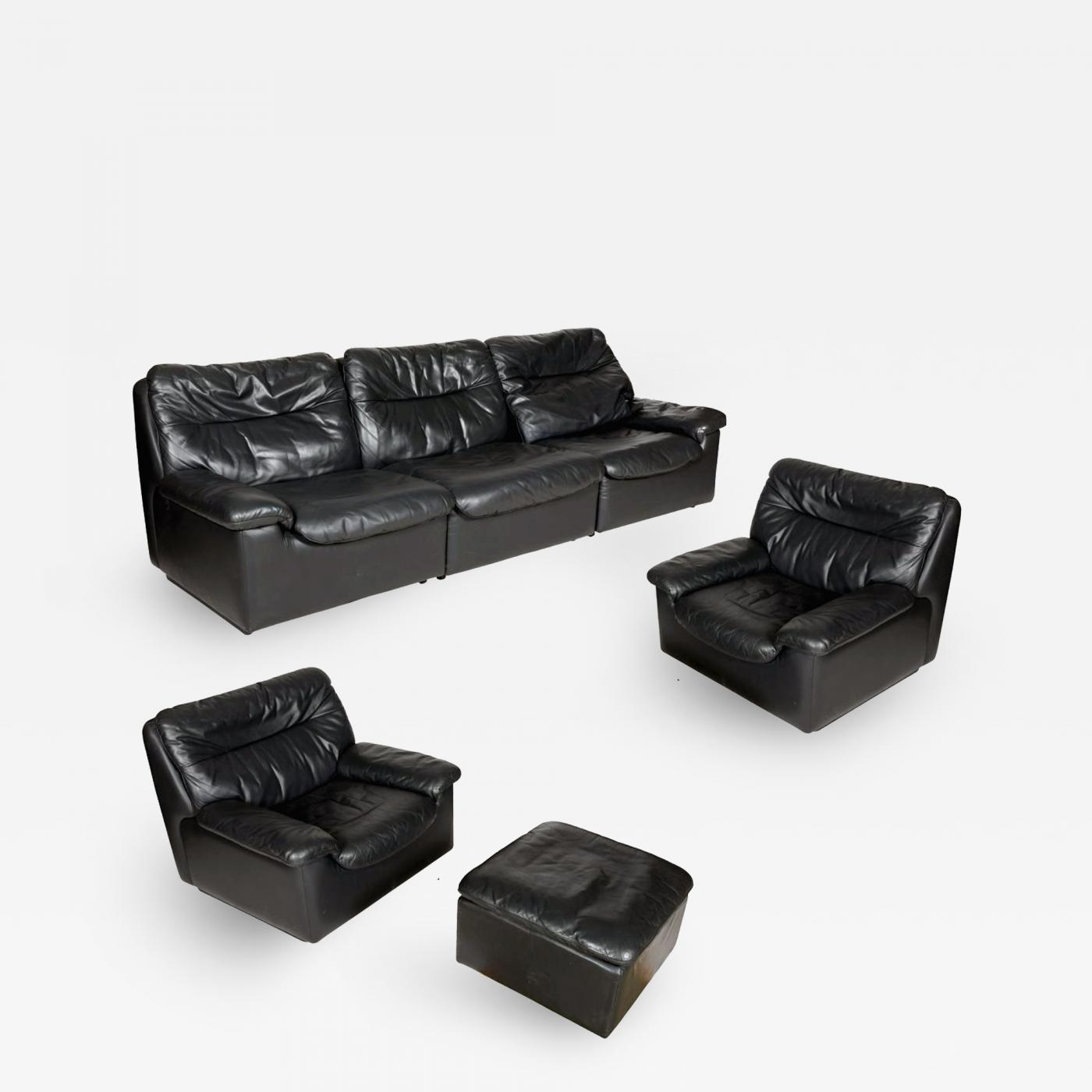 de Sede - A Set of Vintage Leather Sofa, Lounge Chair and Ottoman by De  Sede Switzerland