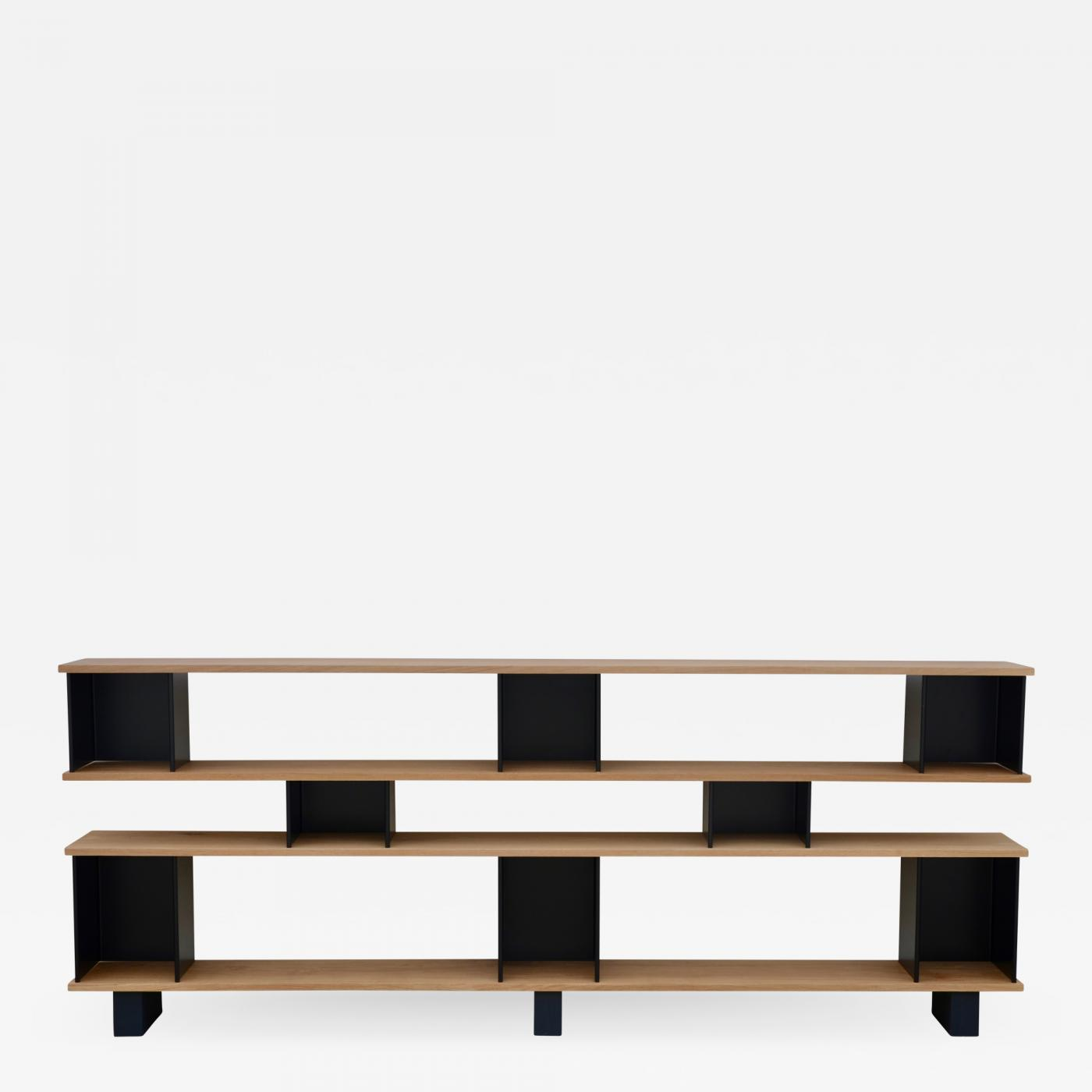 super popular 7ba23 78a12 Design Frères - Low Black Steel 'Horizontale' Oak Shelving Unit by Design  Frères