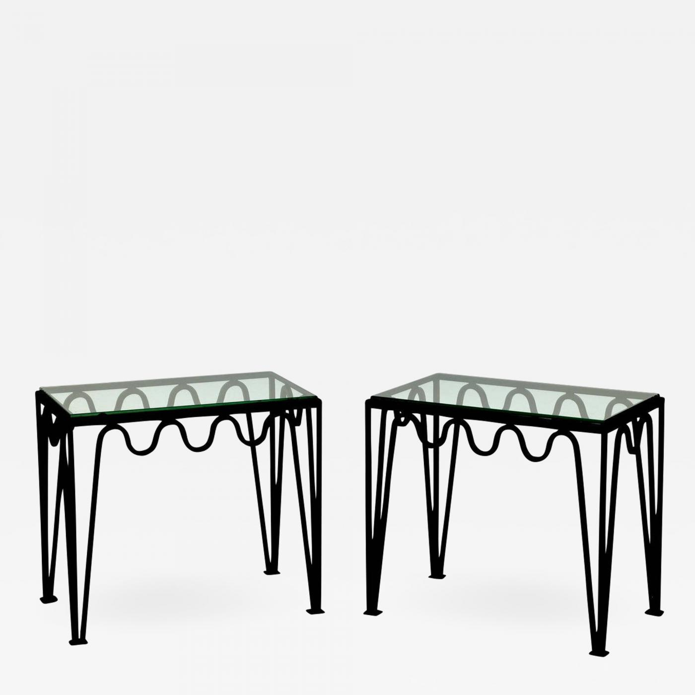 Excellent Design Freres Pair Of Meandre Blackened Steel And Glass Side Tables Bralicious Painted Fabric Chair Ideas Braliciousco