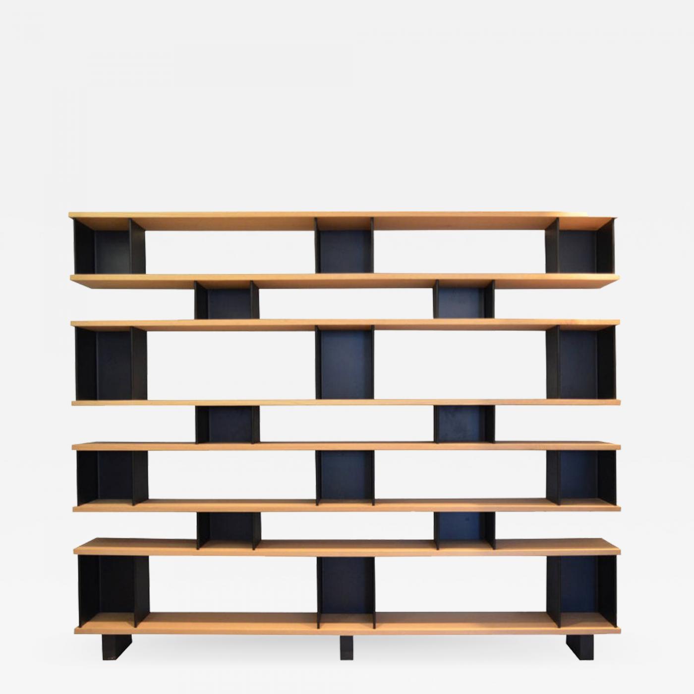 Design Freres The 18 X 8 Matte Black Steel And Oak Bookcase