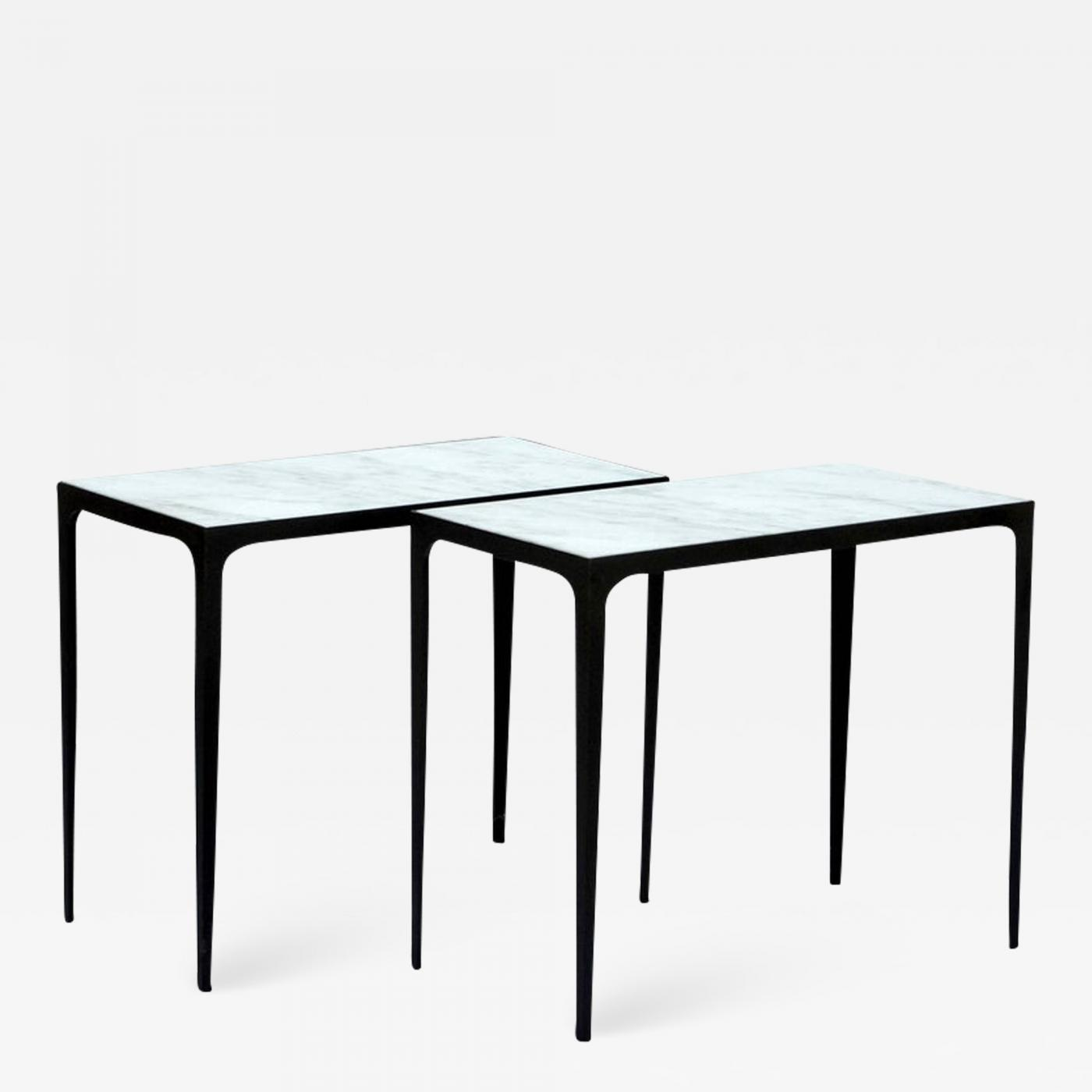 The U0027Esquisseu0027 Iron And Honed Marble Side Tables
