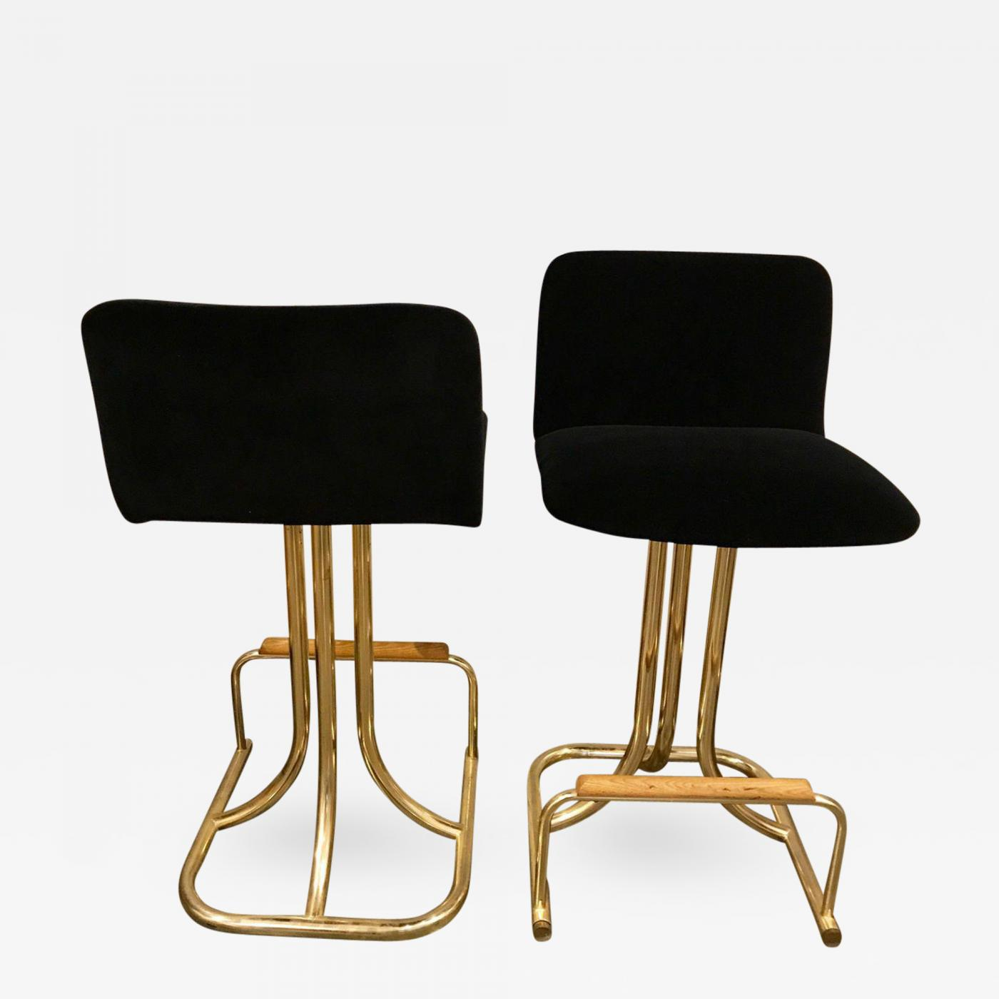 Incredible Design Institute America 2 Sets Of 4 Mid Century Modern Black Velvet Brass Wood Bar Stools Cjindustries Chair Design For Home Cjindustriesco