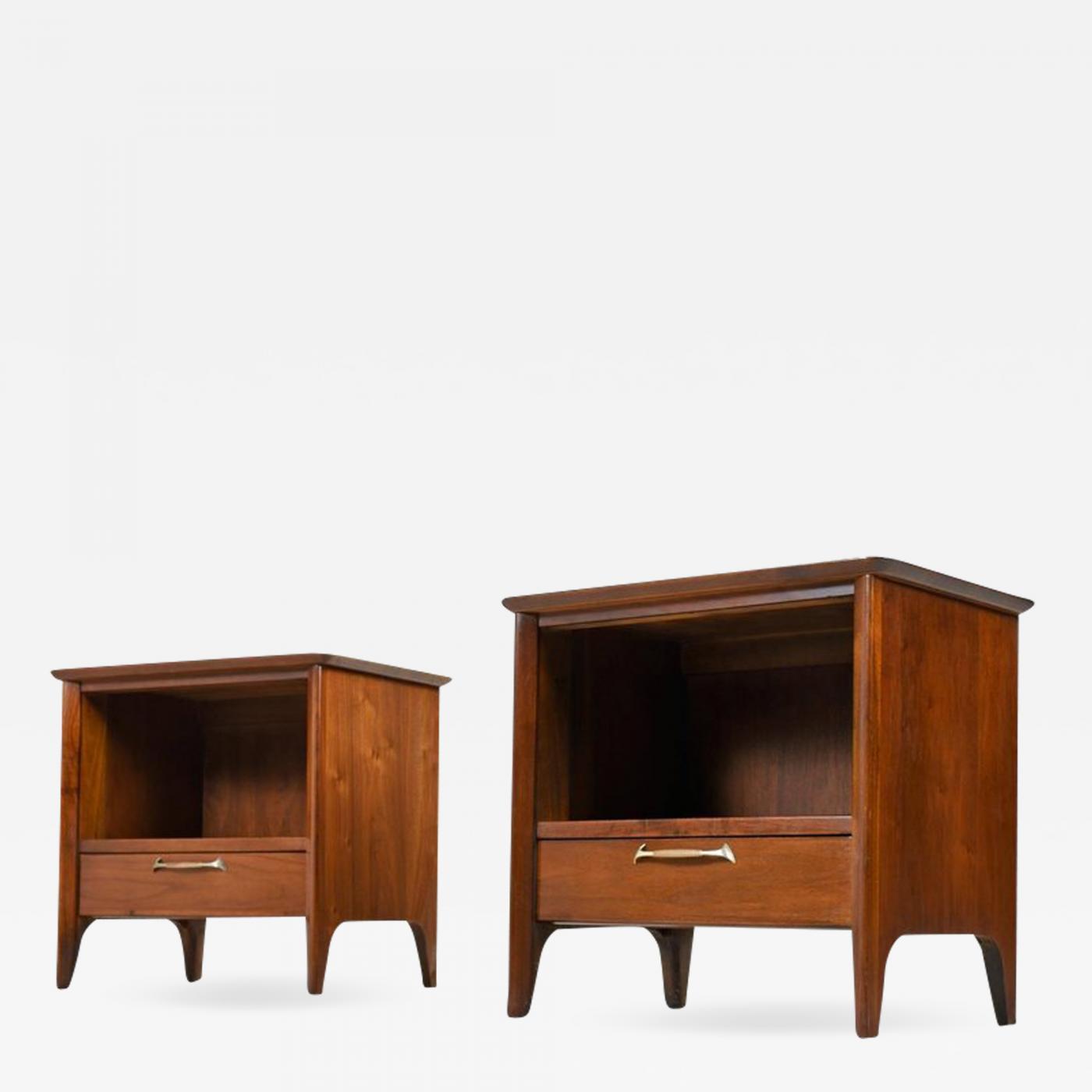 Pair of restored midcentury drexel modern walnut nightstands circa 1950s