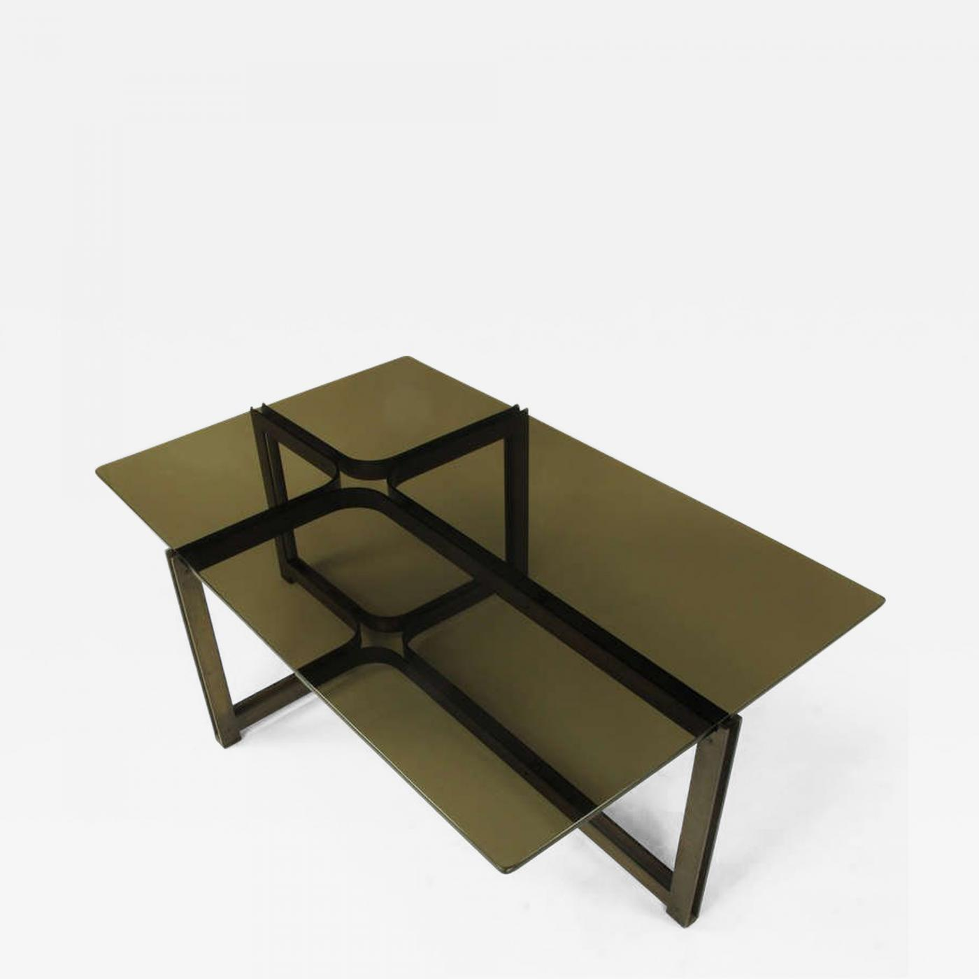 Bronze And Glass Coffee Table: Tom Lopinski For Dunbar Bronze, Rosewood And