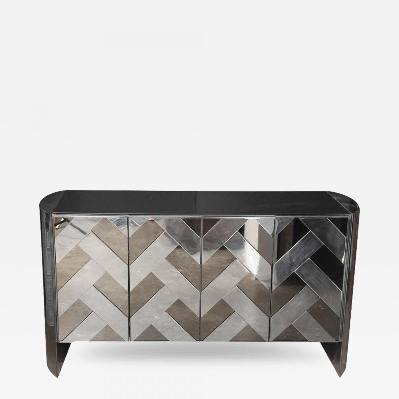 Mid century modern vintage smoked glass and mirror credenza or sideboard