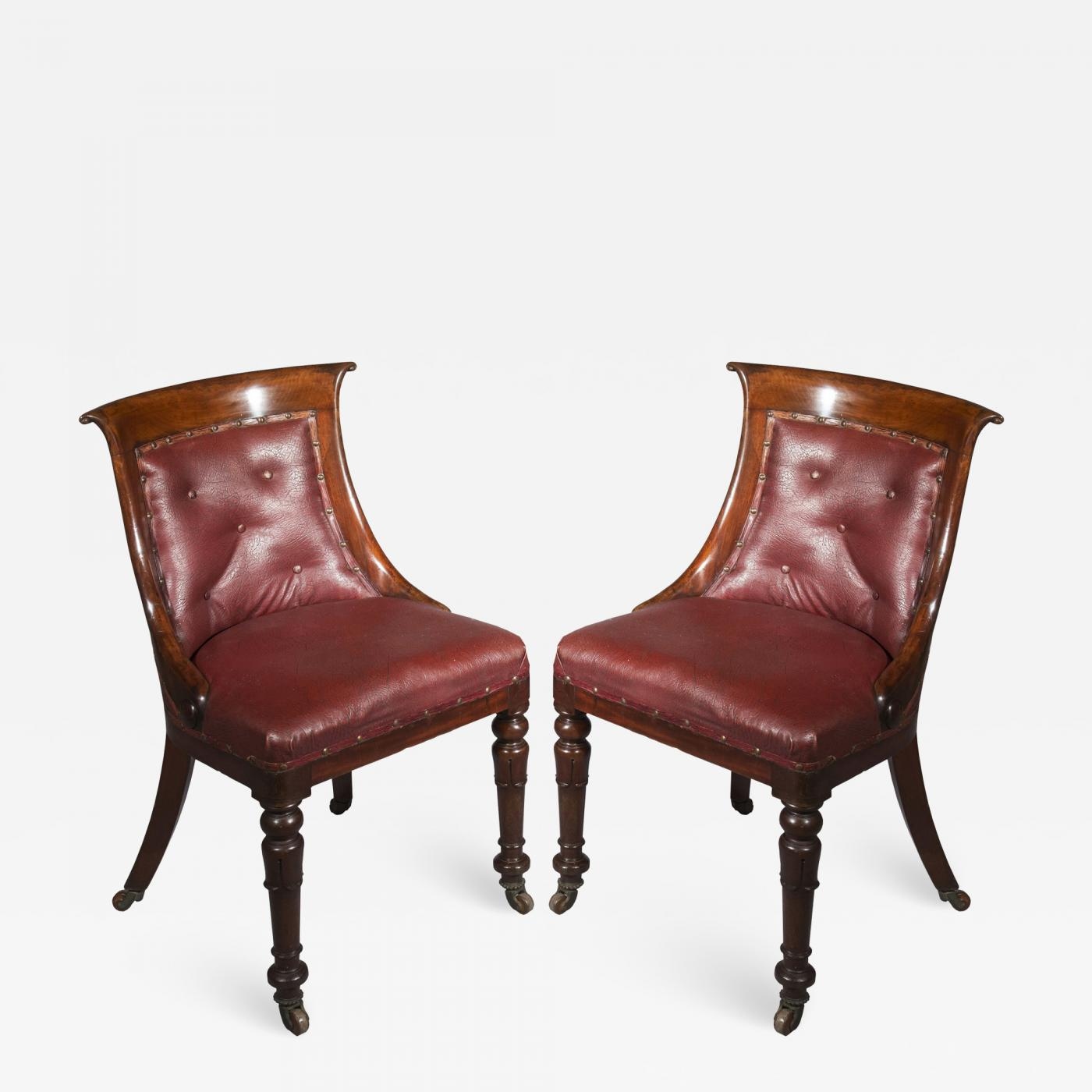 Pleasing Gillows Of Lancaster London Pair Of Regency Gondola Tub Chairs In Old Burgundy Leather Creativecarmelina Interior Chair Design Creativecarmelinacom