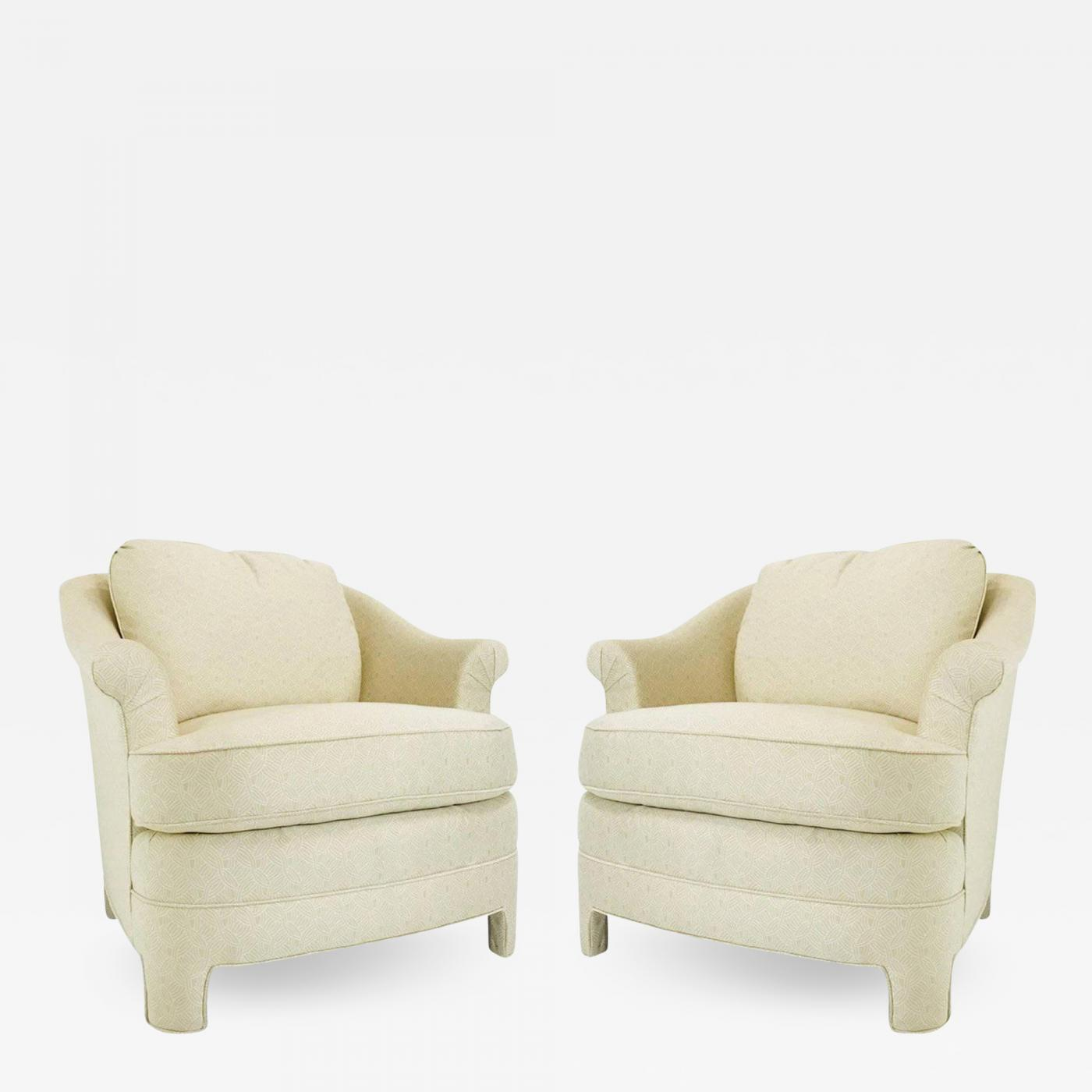 Henredon Furniture - Pair of Henredon Asian Influenced Armchairs and Ottoman