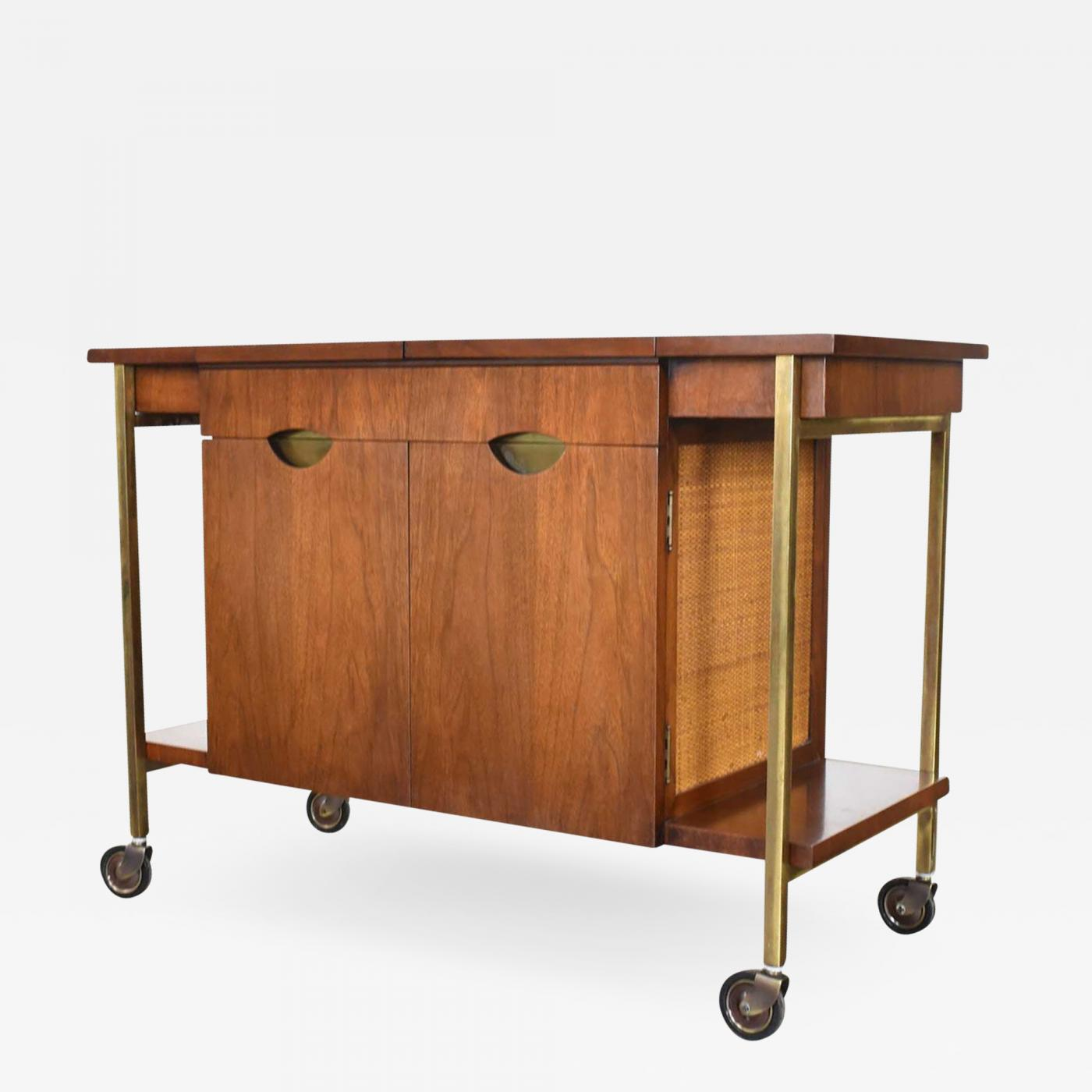 Heritage Furniture Heritage Vintage Mid Century Modern Walnut Cane Rolling Bar Cart Cocktail Cart