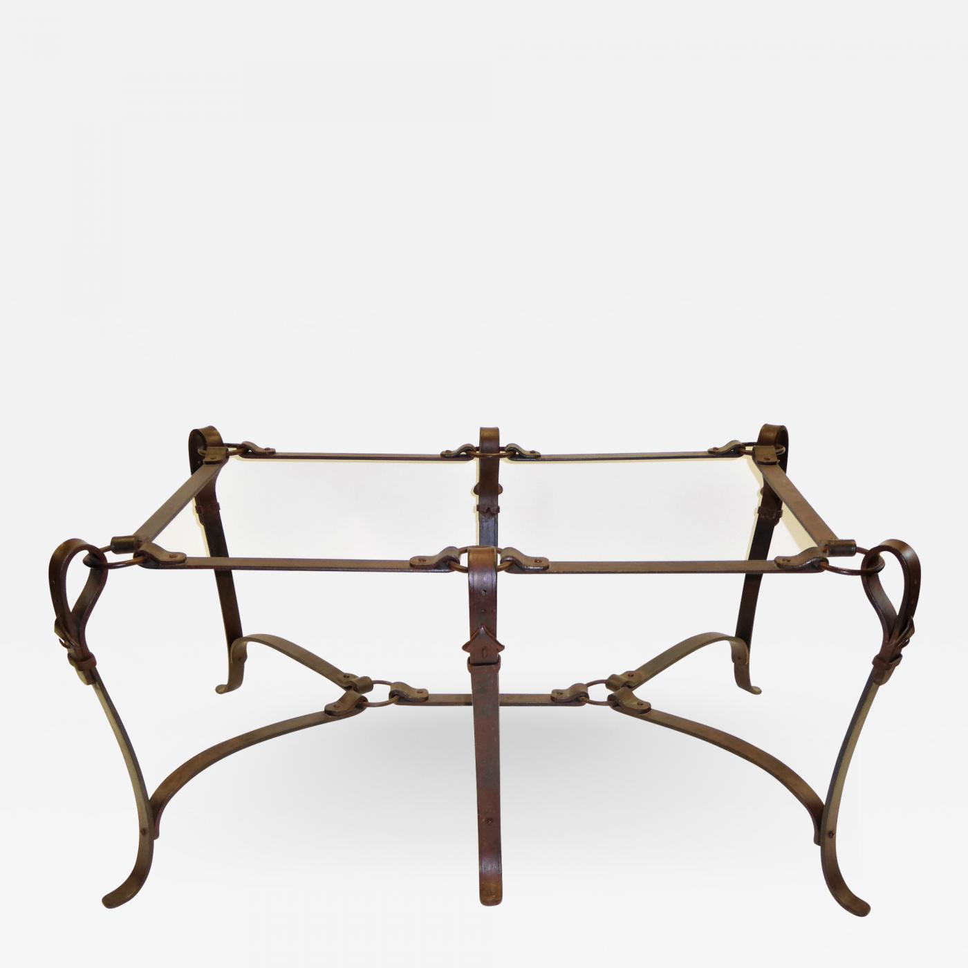 Hermès Elegant Hermes Style Faux Leather Wrought Iron Coffee Table - Hermes coffee table