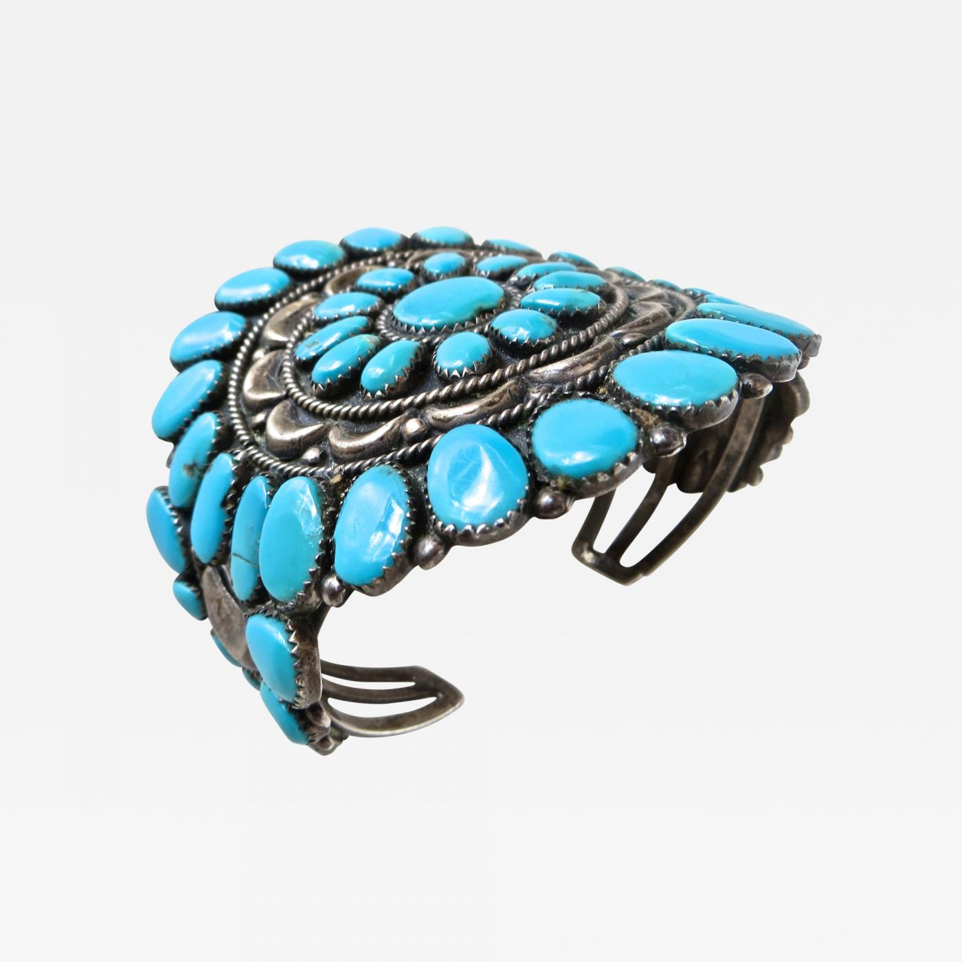 Navajo Handmade Sterling Silver Turquoise Cluster Pendent//Pin Juliana Williams