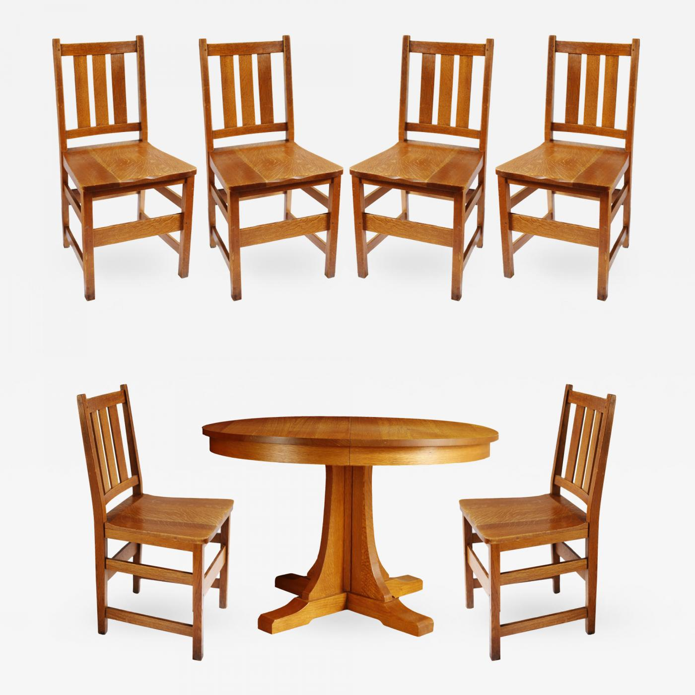 1be21157a7 Andy Warhol's Six Stickley Dining Chairs from the Factory and Extending  Table. Sale