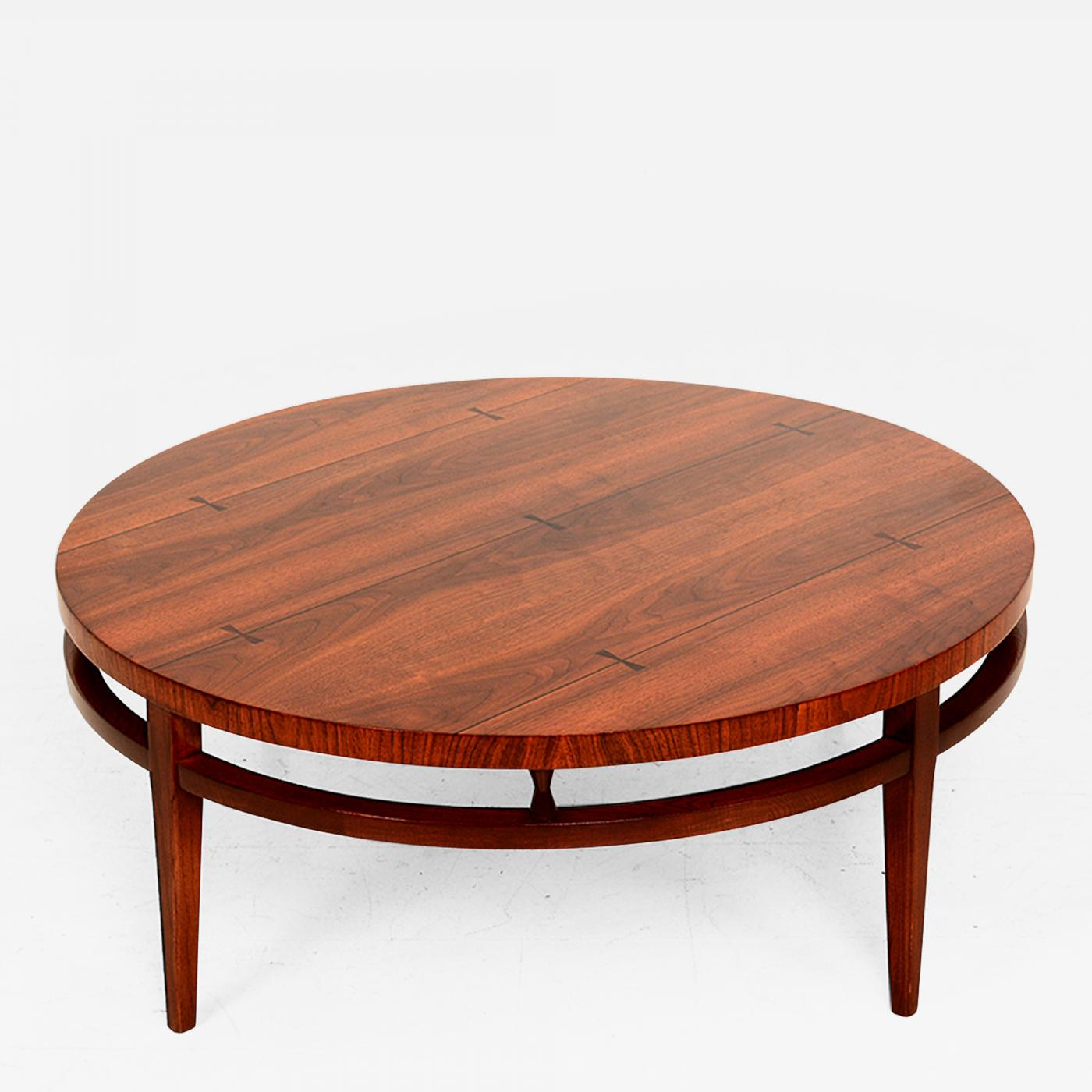 Lane Furniture Mid Century Modern Round Coffee Cocktail Table by