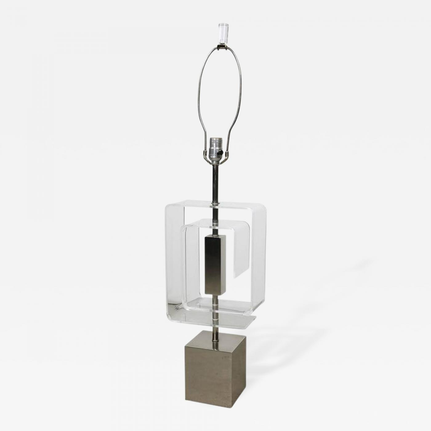 Laurel Lamp Company Chrome And Lucite Spiral Table Lamp By Laurel