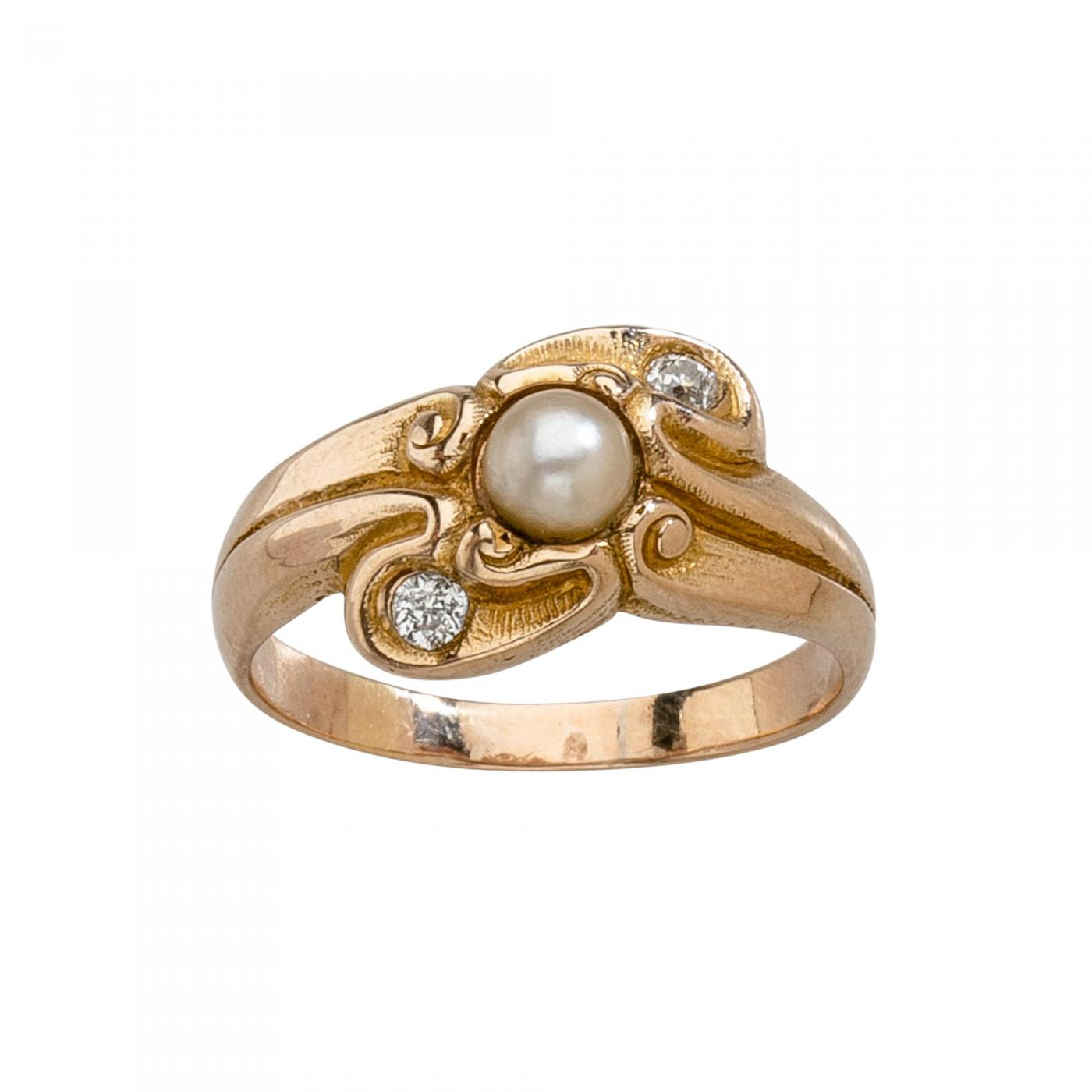Lebolt amp Co LeBolt Gold Diamond Pearl Ring