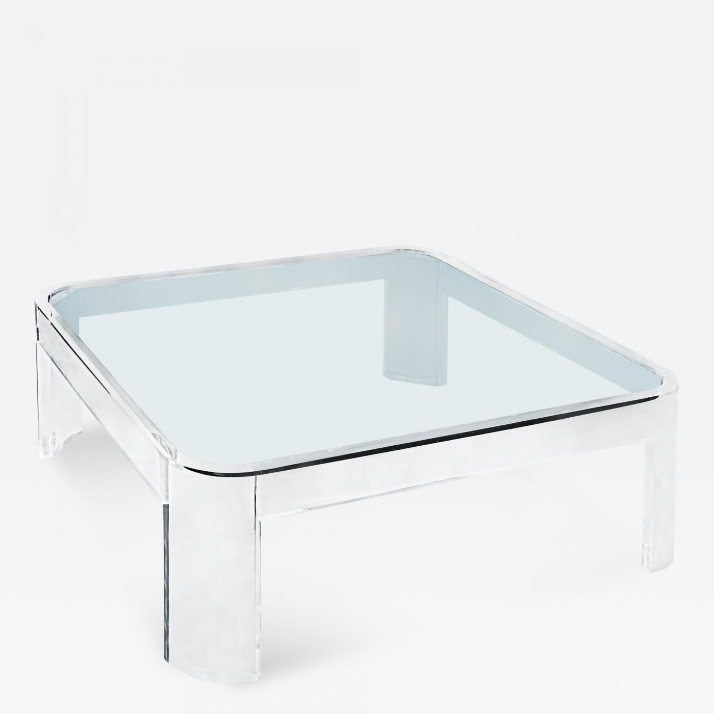 Les Prismatiques Exceptional Lucite And Glass Coffee Table By Les