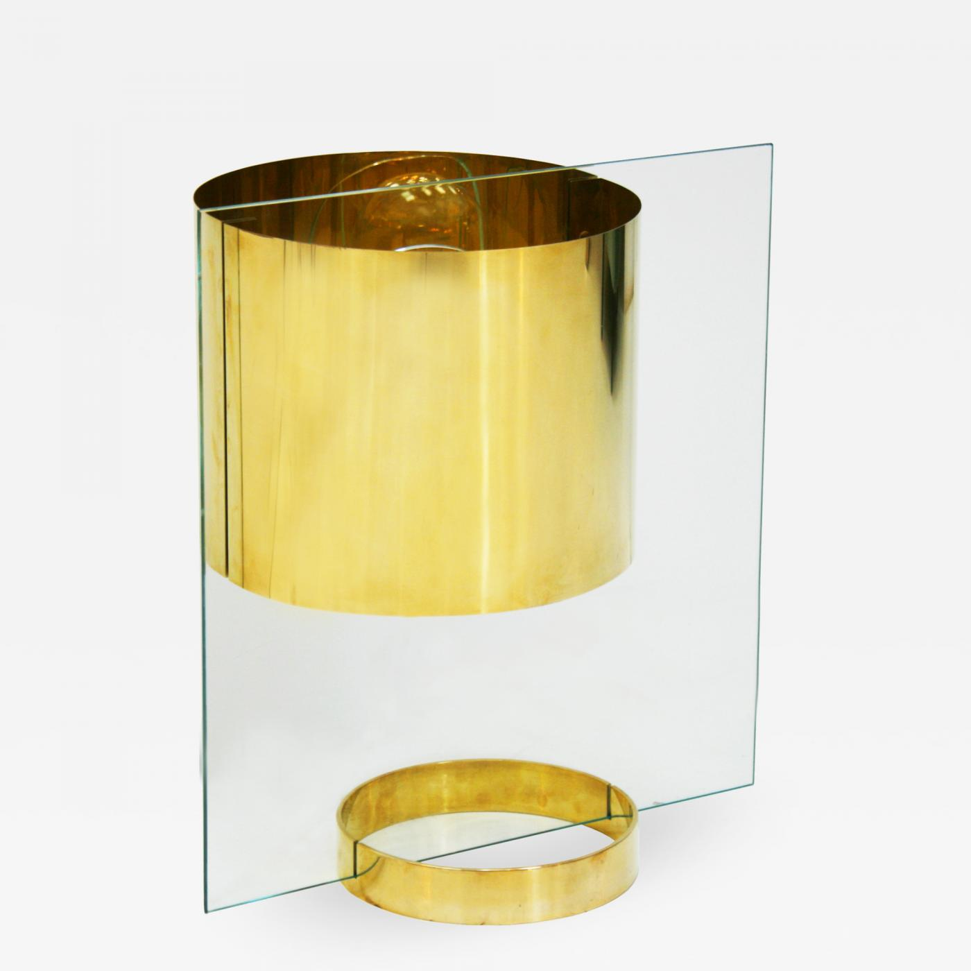 Lumenform Mid Century Glass And Brass Table Lamp Italy 60s