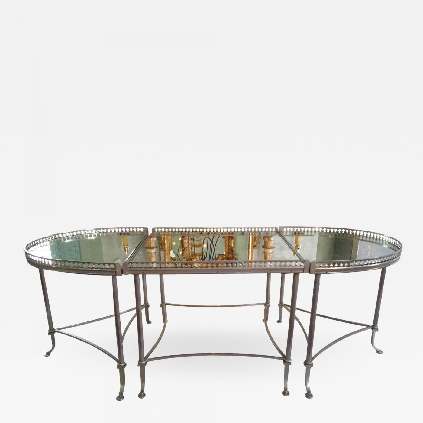 Maison Bagues Silver Colored Tripartite Coffee Table Attributed To Maison Bagues