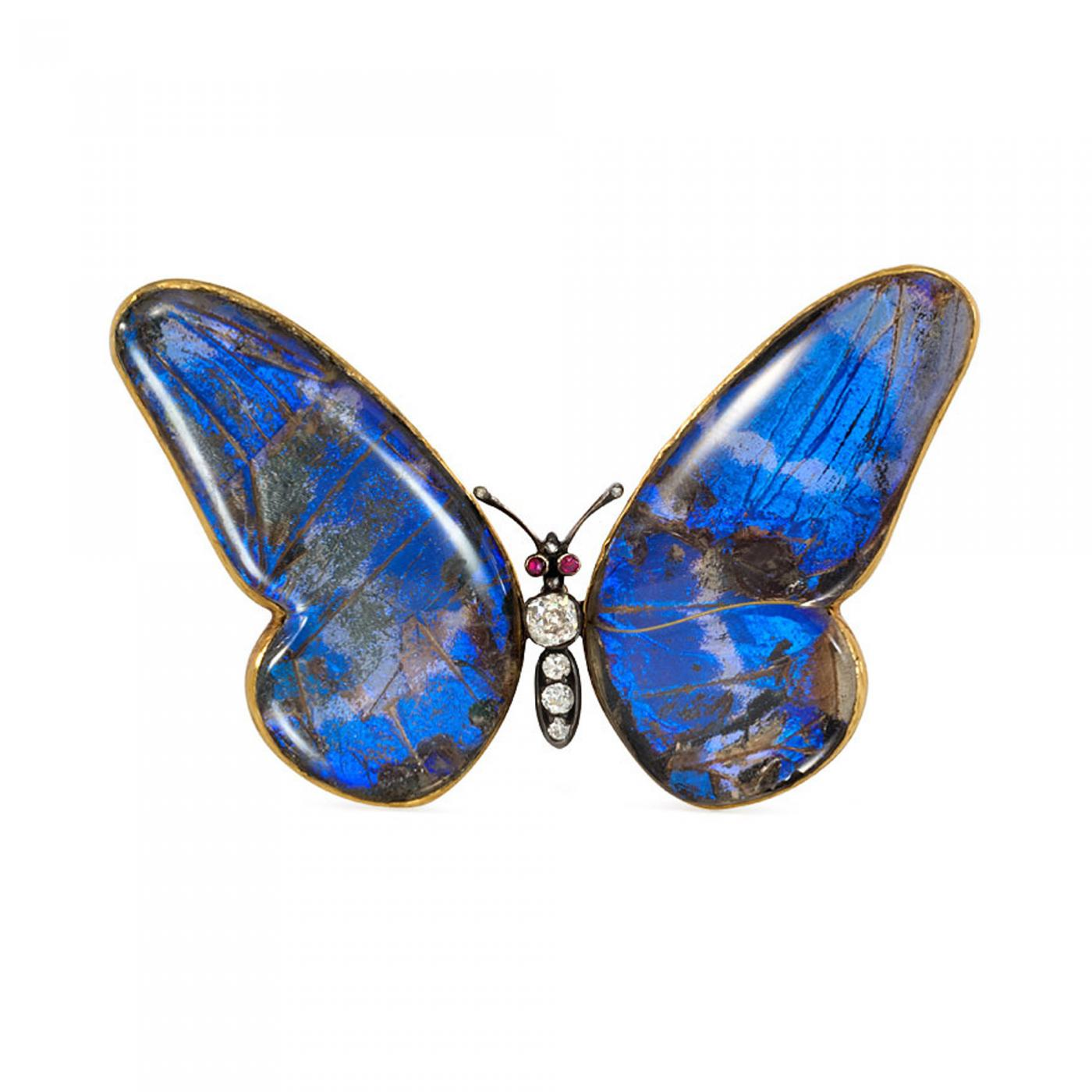 Butterfly Brooch Vintage Pin With Blue and Pink Crystal