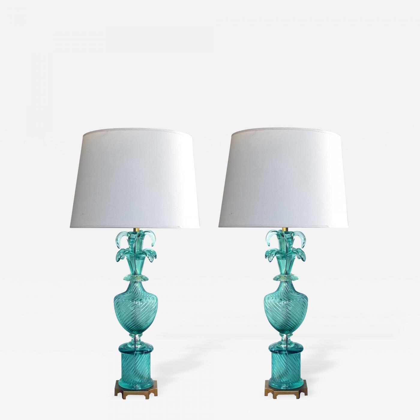 Marbro Lamp Company A Stunning Pair Of Murano Aqua Glass