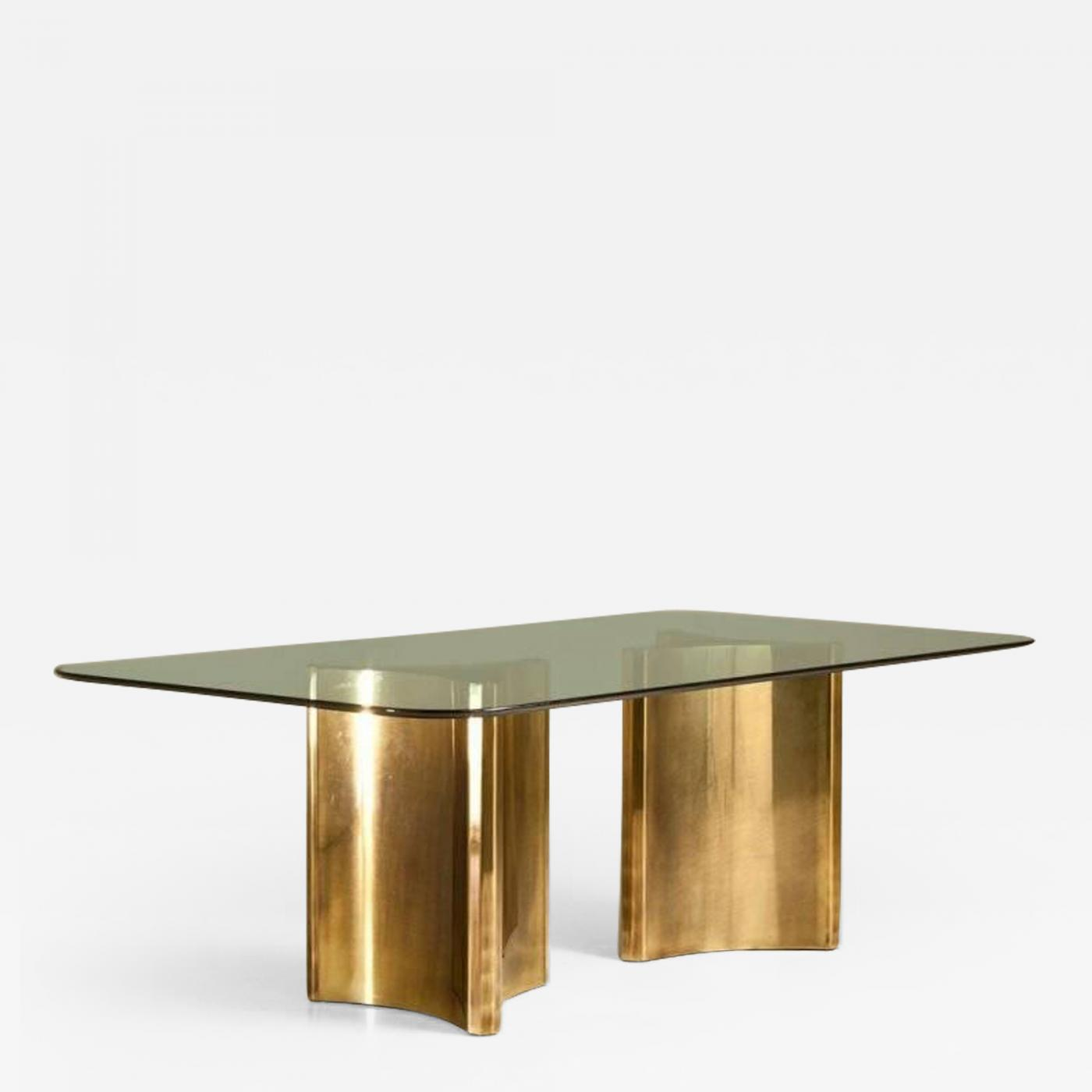 Picture of: Mastercraft Pair Of Brass Triangulate Dining Table Bases By Mastercraft