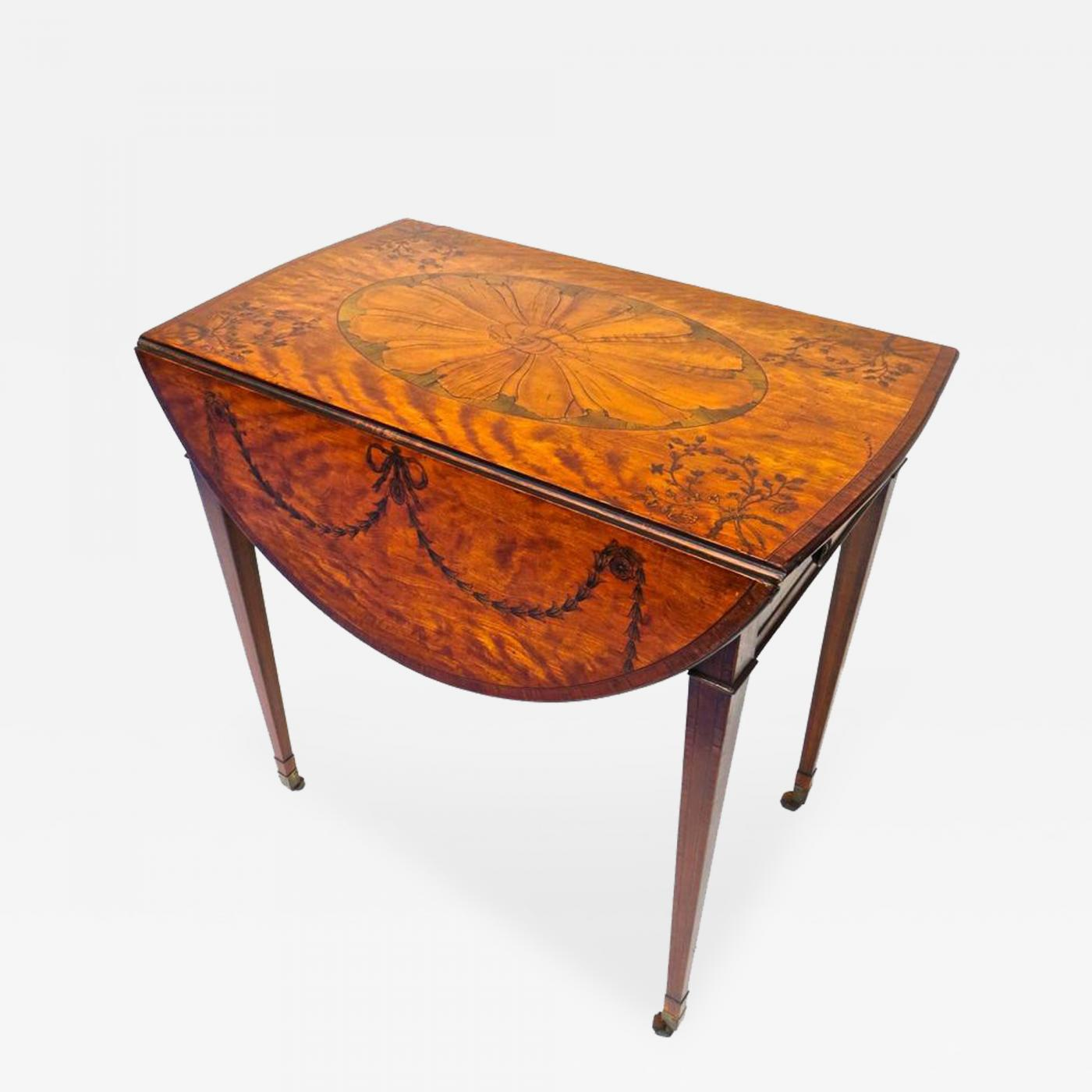 Mayhew Ince Fine George III Marquetry Inlaid Pembroke Table Attributed  Mayhew Ince C1775
