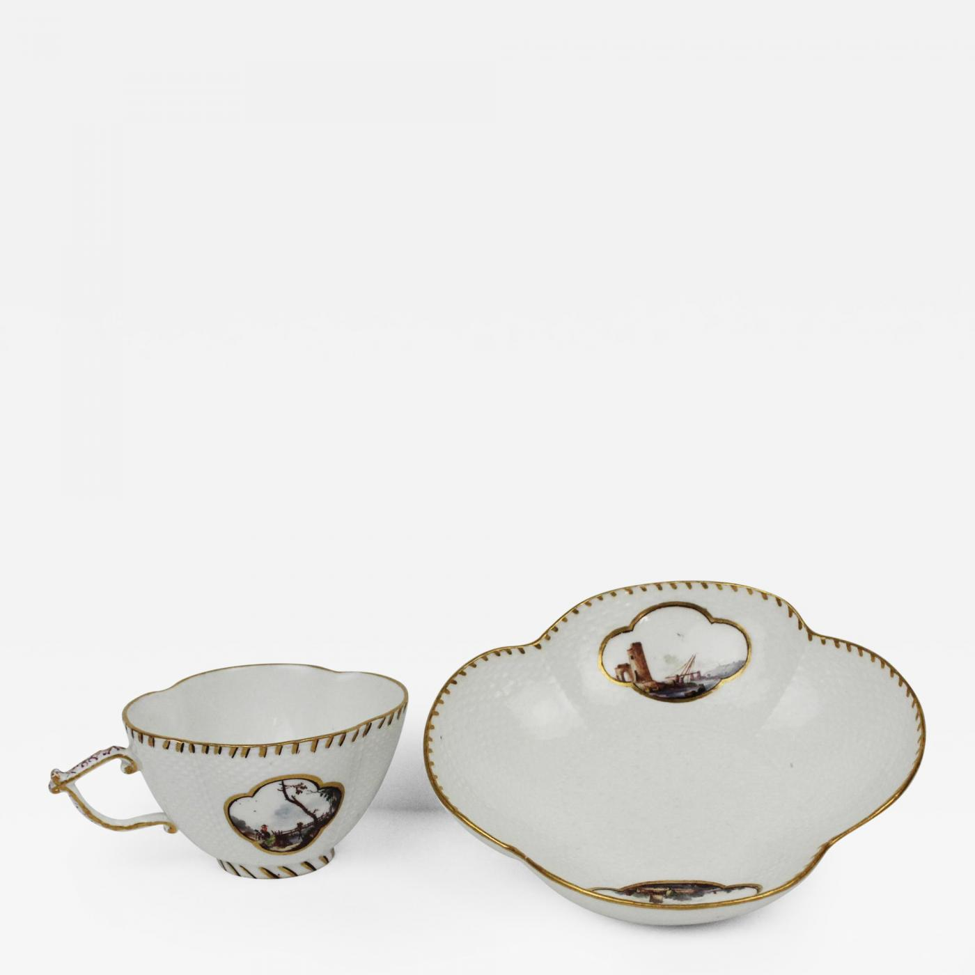 Listings / Decorative Arts / Tablewares / Drinking Vessels  sc 1 st  Incollect & Meissen - Porcelain Quatrefoil Cup and Saucer Circa 1735