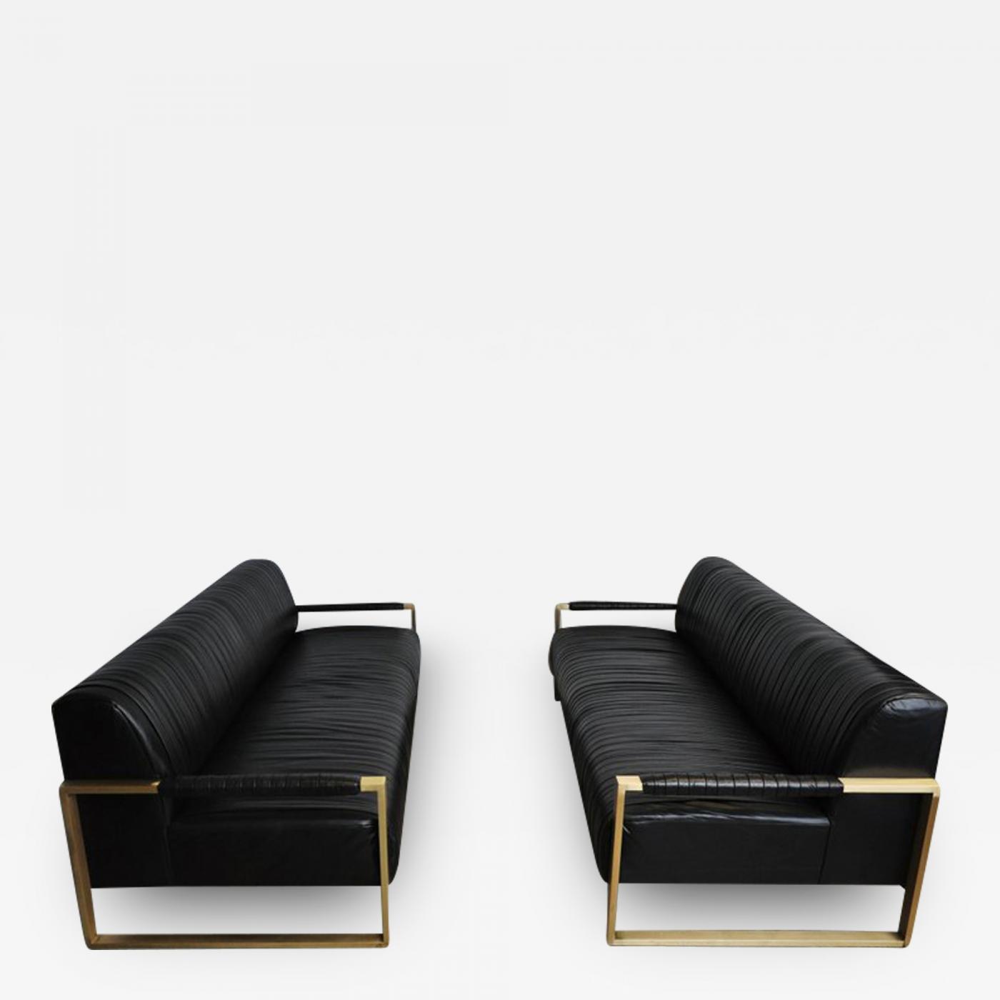 Modern Drama - Modern Drama Pleated Leather Sofa with Brushed Brass Frames