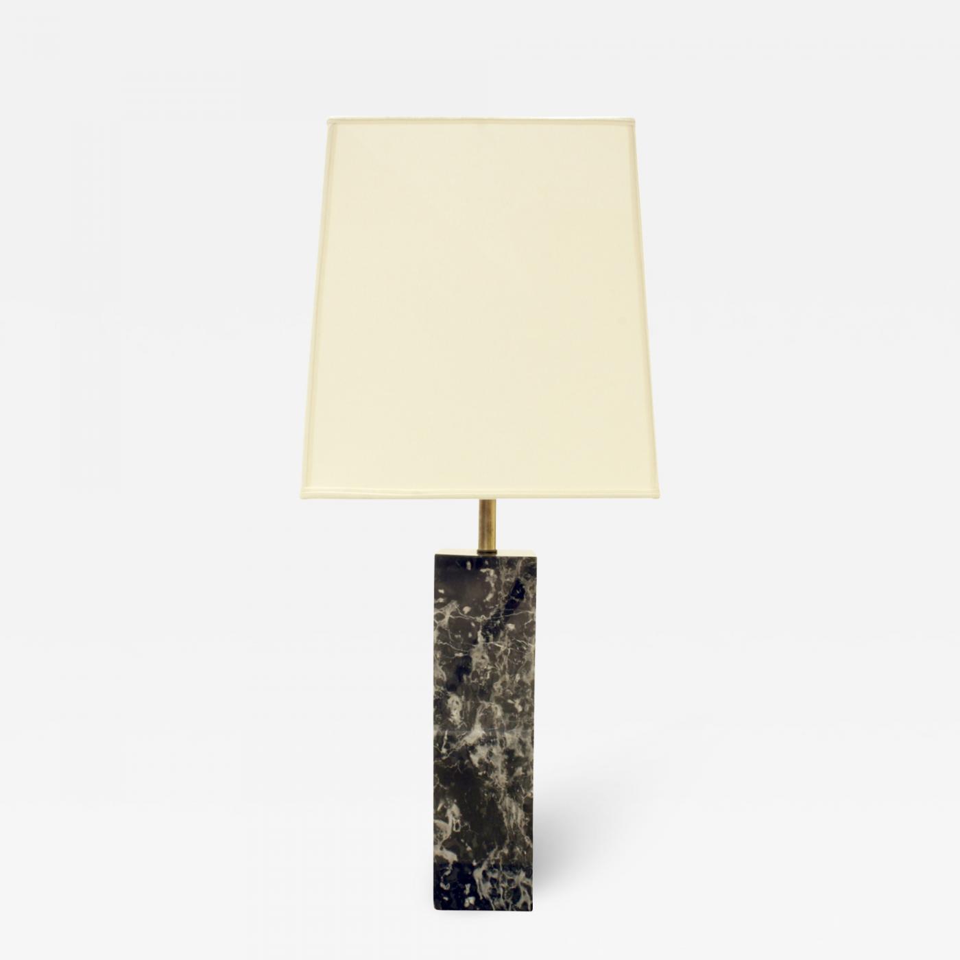 Nessen Studios Nessen Block Table Lamp In Black Marble 1940s
