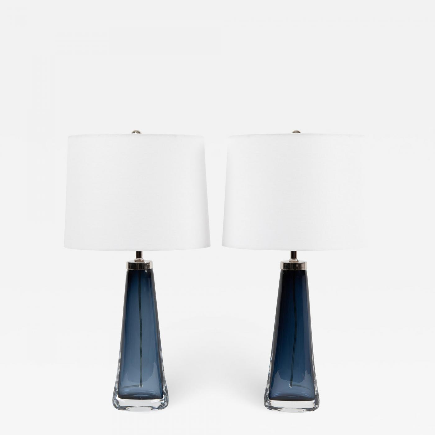 Pair Of Carl Fagerlund For Orrefors Blue Glass Table Lamps Circa 1960s