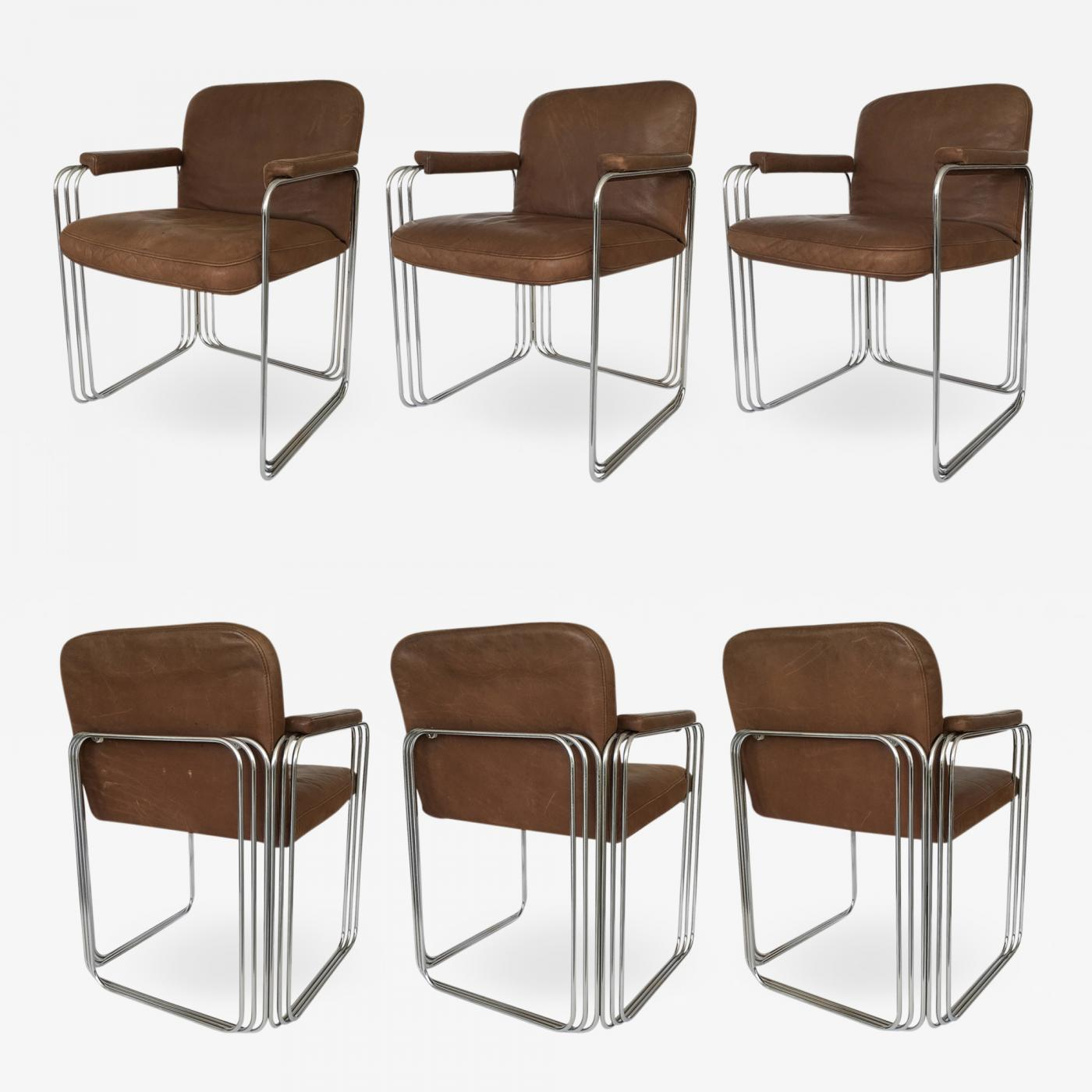 Cool Pace Collection Set Six Chrome And Leather Dining Chairs Attributed To Pace Collection Beatyapartments Chair Design Images Beatyapartmentscom