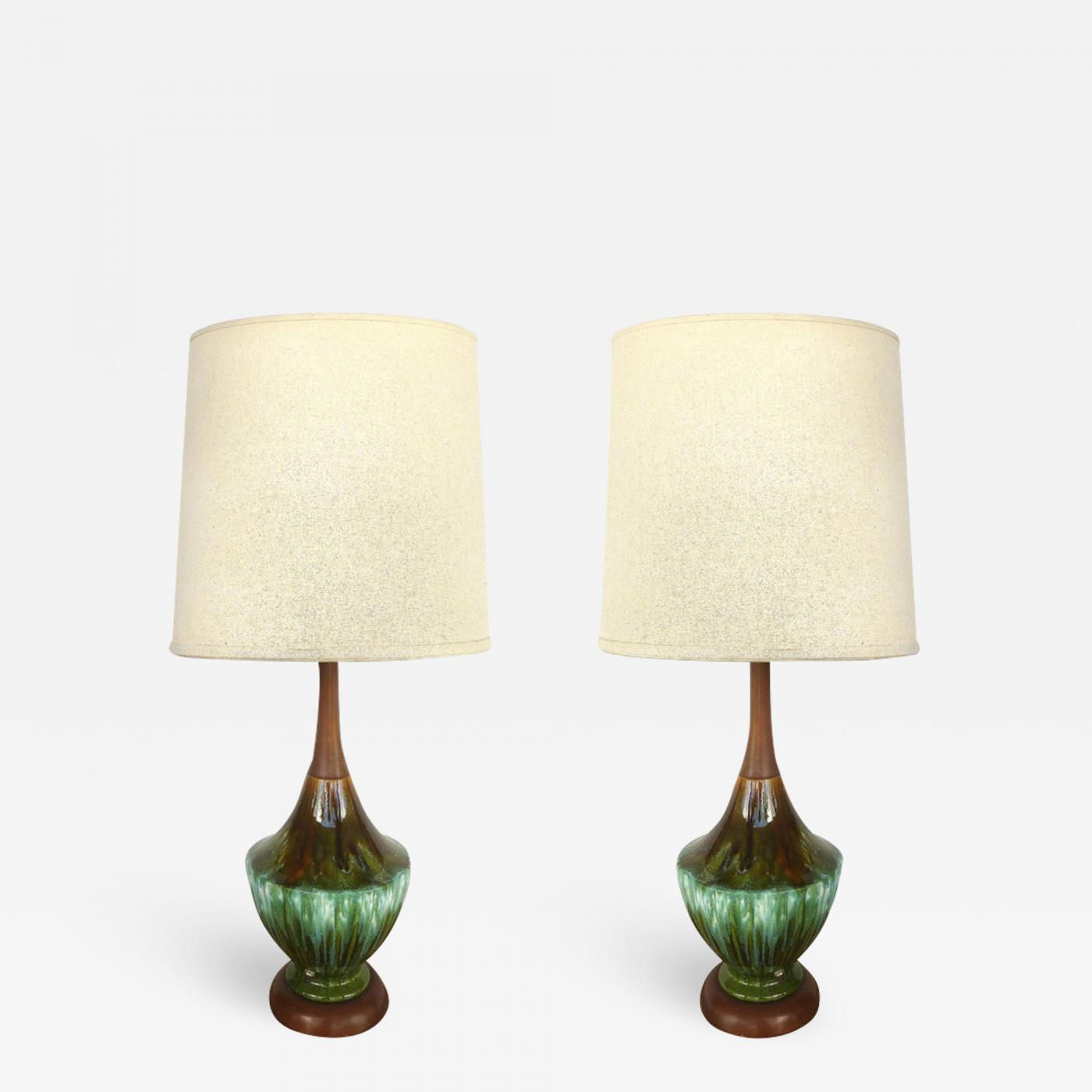 Picture of: Phil Mar Phil Mar Mid Century Teak And Ceramic Table Lamps With Drip Glaze