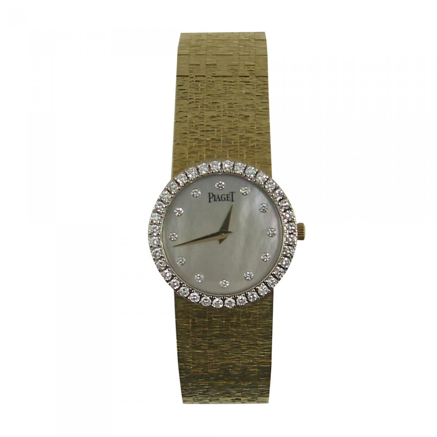 leather white strap bezel diamond round piaget altiplano rose black on with watches in gold