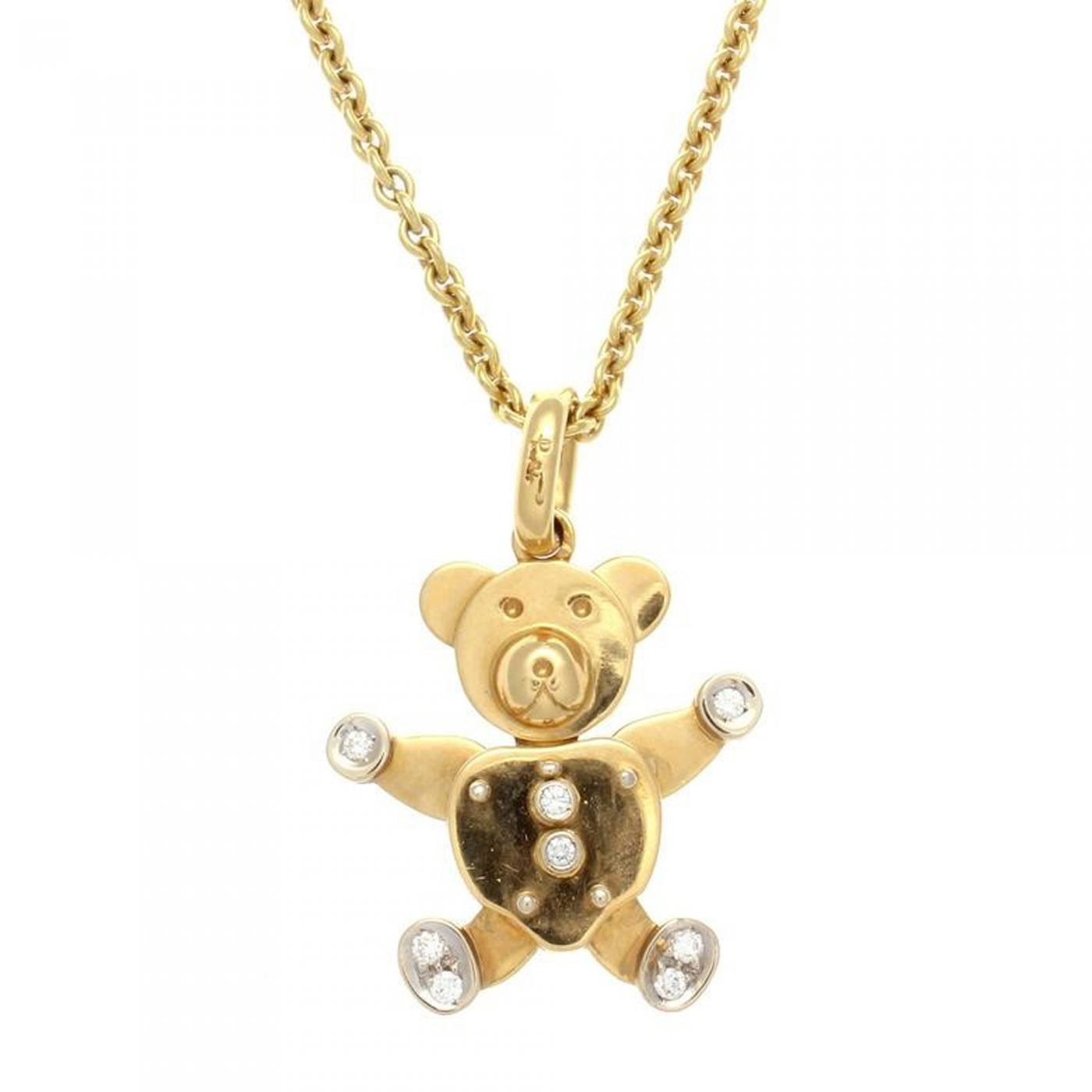 in product teddy necklace bear metallic diamond pendant designs kc gold lyst yellow gallery jewelry
