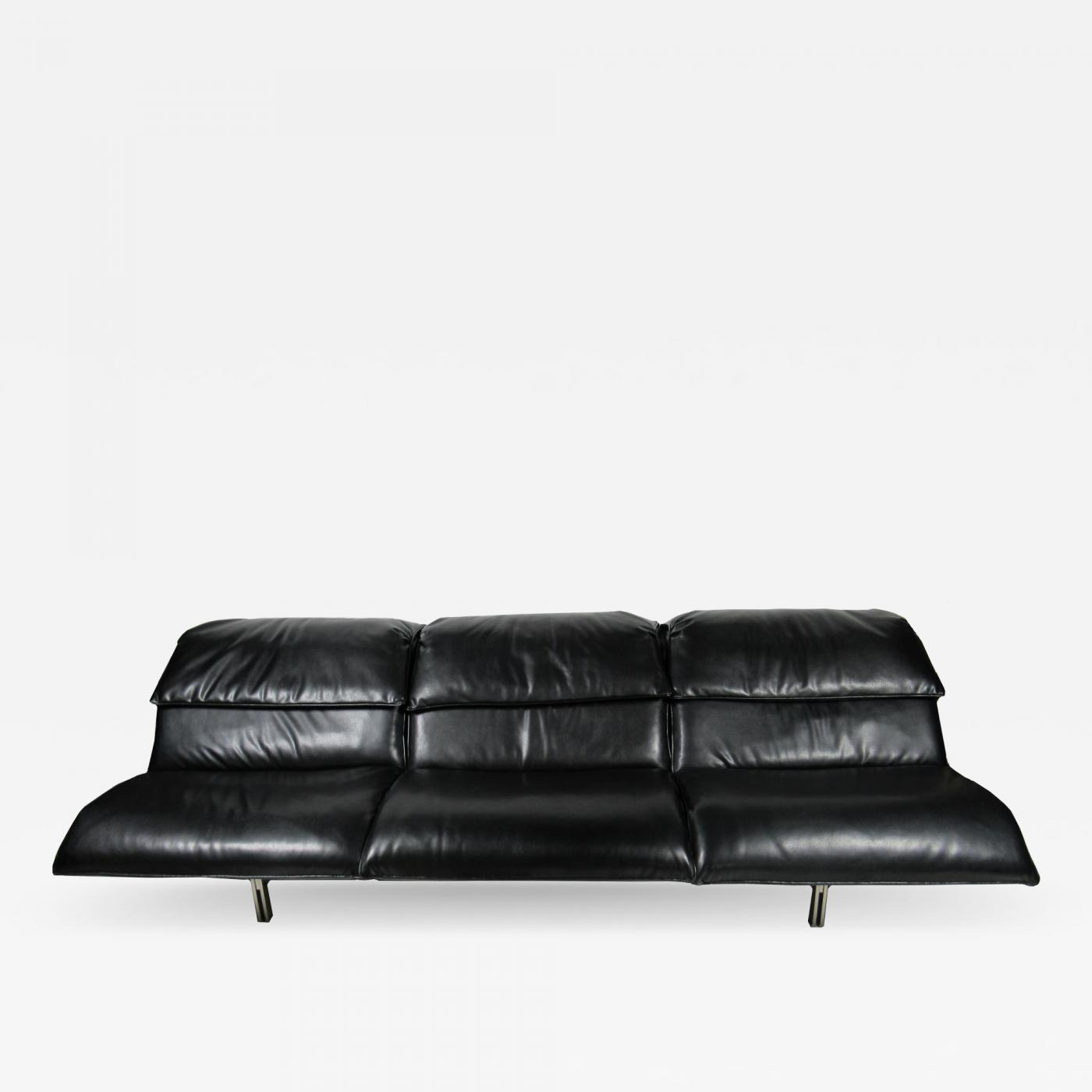 Saporiti - An Italian Modern Stainless Steel and Leather 3 Seat \