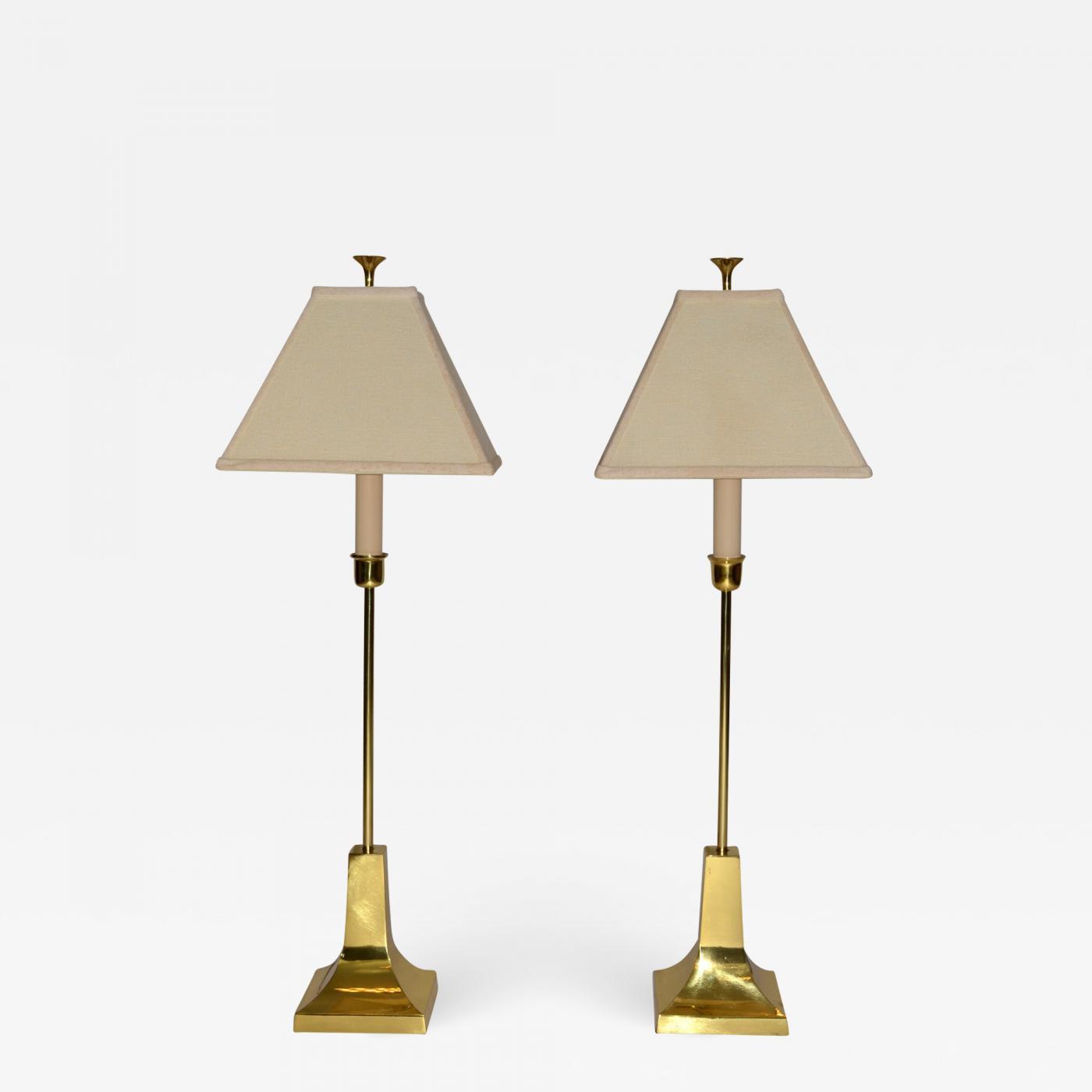 Pair Of Brass Table Lamps By Sarreid Ltd Midcentury Modern 1987