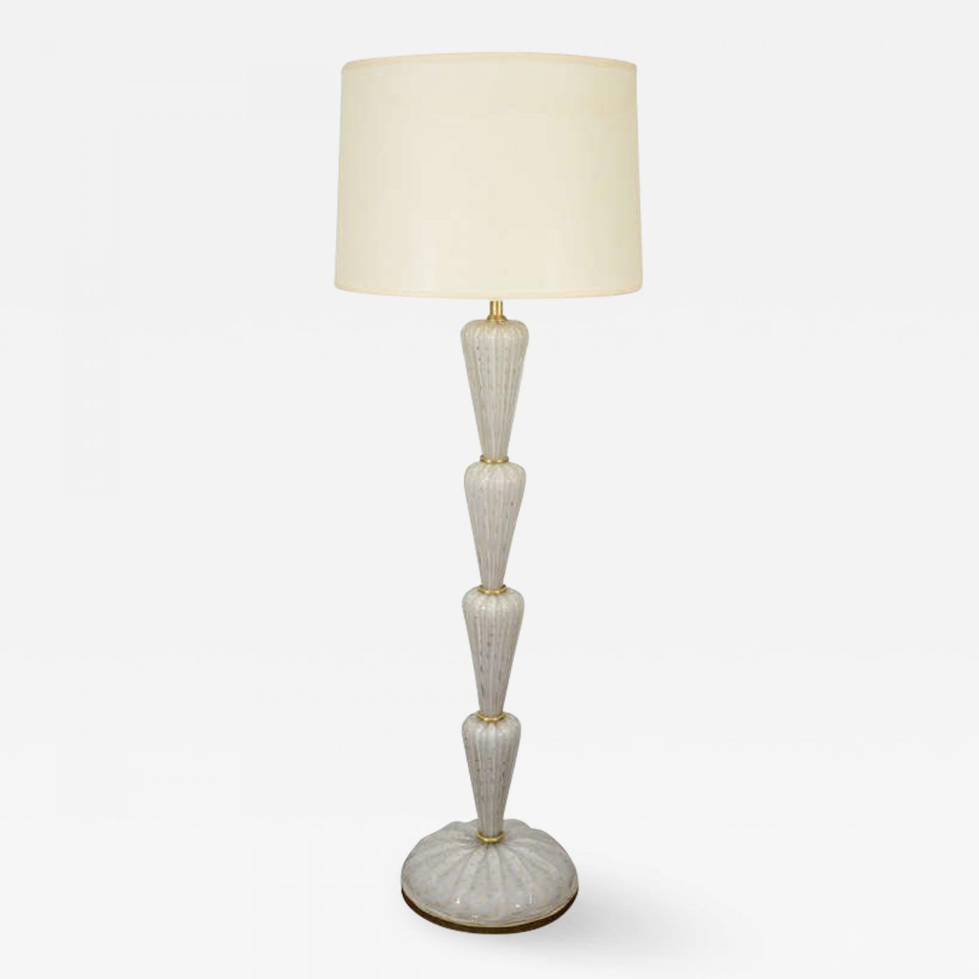 Seguso - Seguso Murano Glass Floor Lamp in White with Gold Dots
