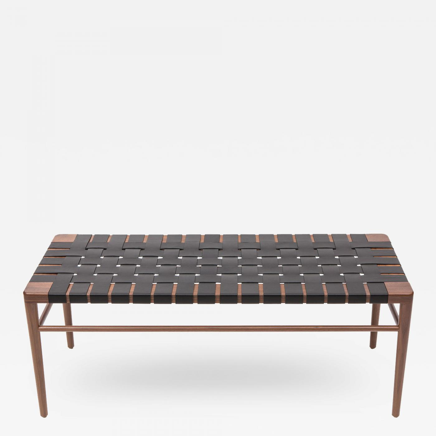High Quality Smilow Furniture Smilow Furniture Walnut And Black Leather Webbed Bench