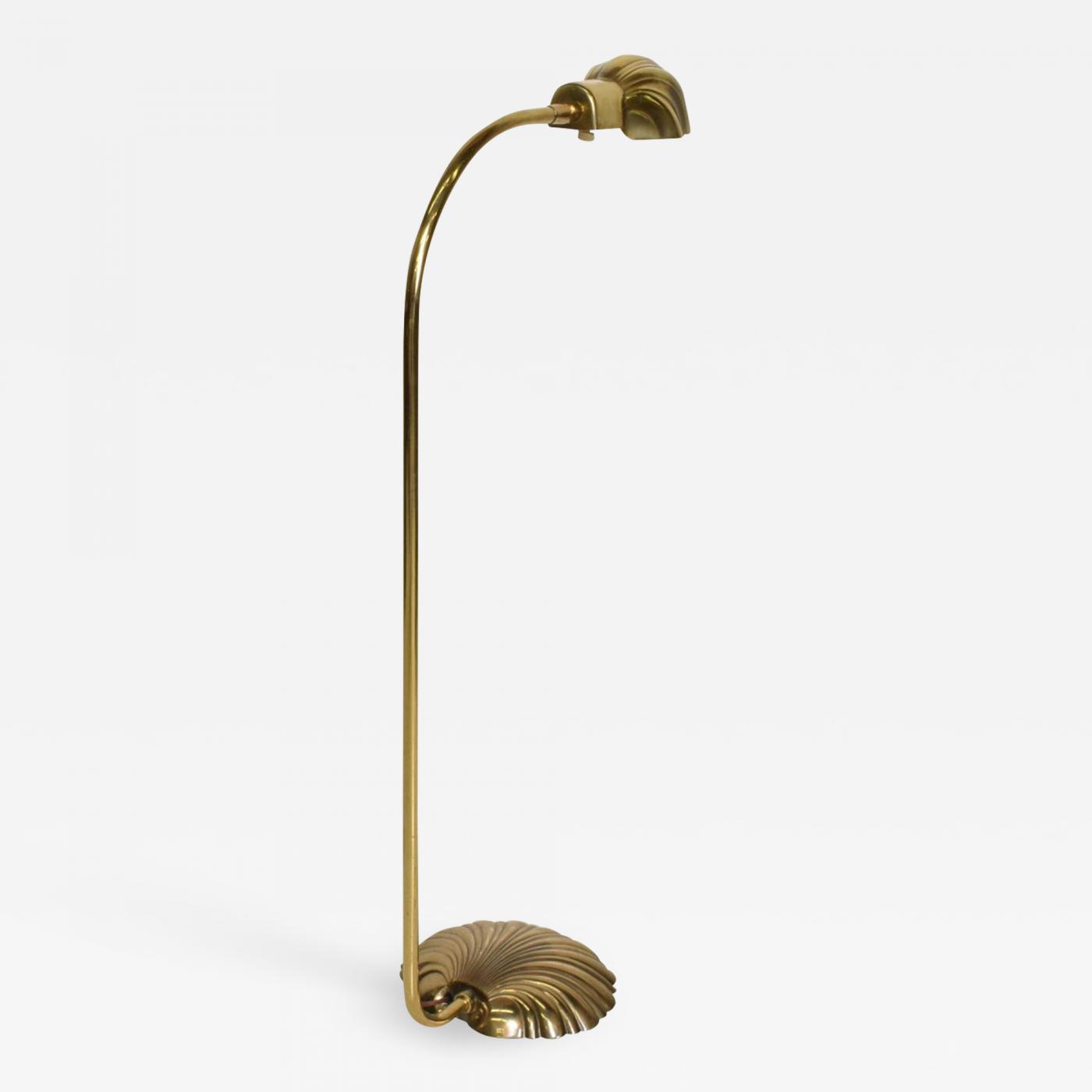 Stiffel Lamp Company Mid Century Modern Pharmacy Reading Floor Lamp Brass Seashell Shape
