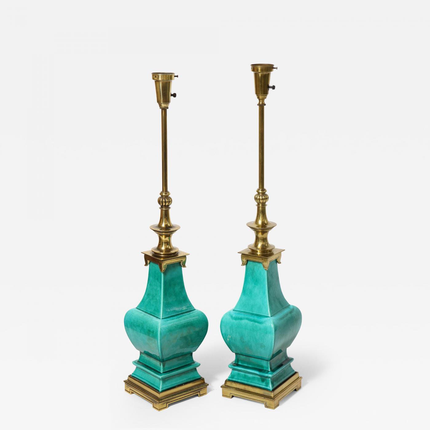 Pair of jade porcelain lamps by stiffel lamp co