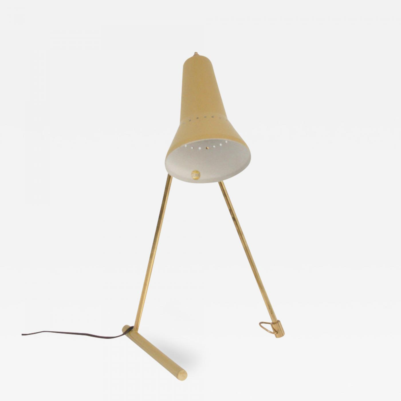 Stilnovo Vintage Italian Brass Table Lamp With Yellow Shade By