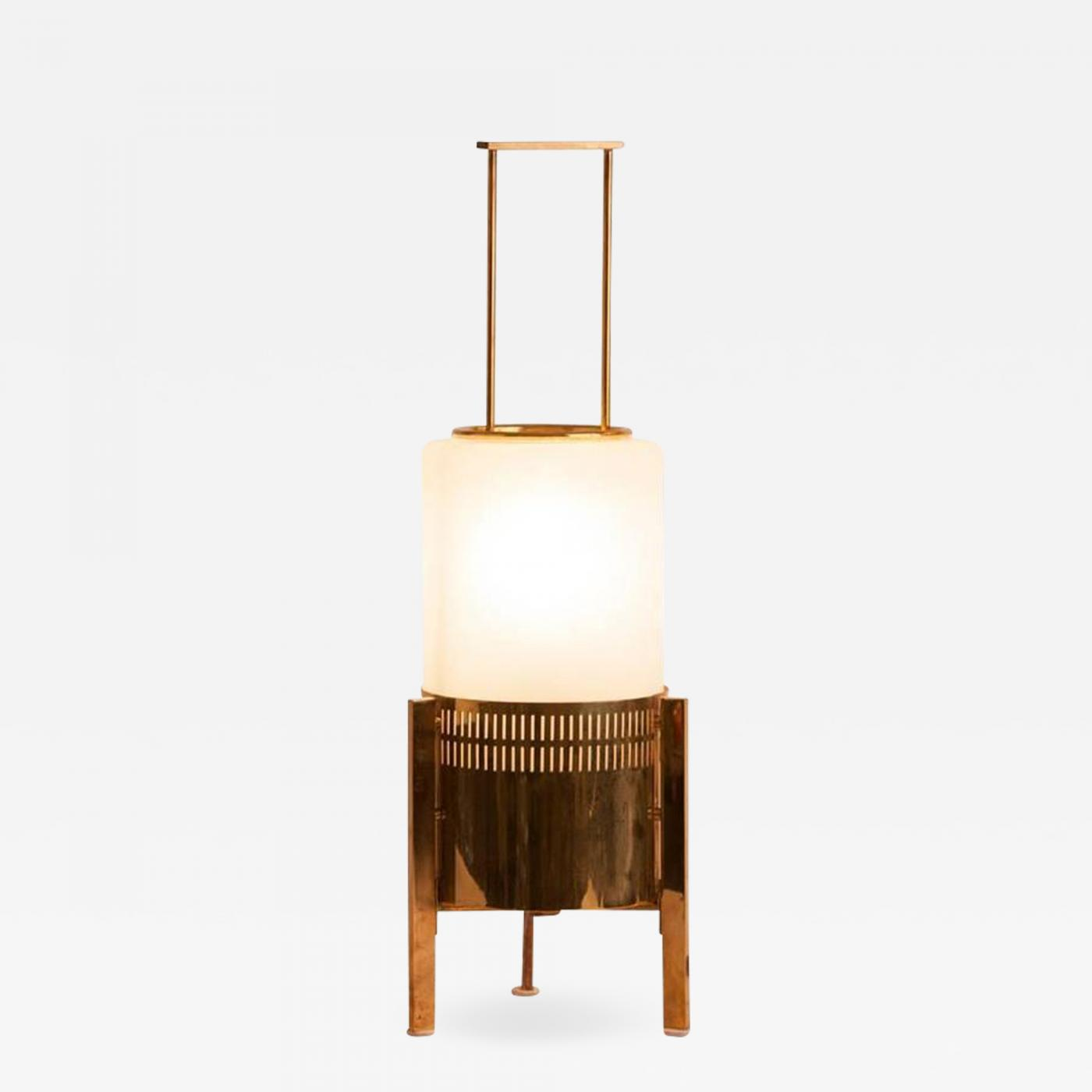 Stilnovo Mid Century Brass And Milk Glass Stilnovo Table Lamp