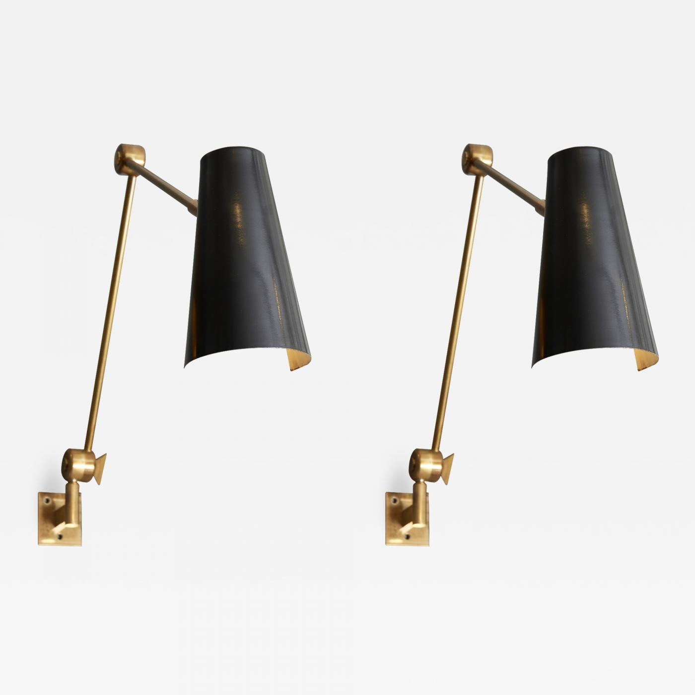 Image of: Stilnovo Pair Of Stilnovo Black Cones Wall Sconces