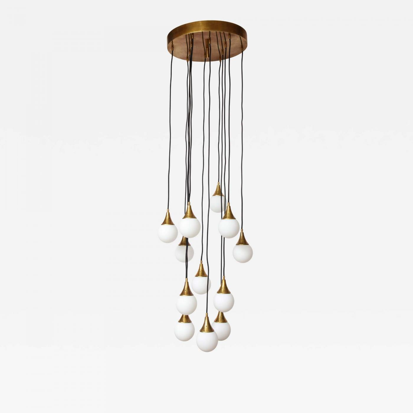 Stilnovo Stilnovo Cascading Chandelier With Twelve Opaline Glass Ball Lights