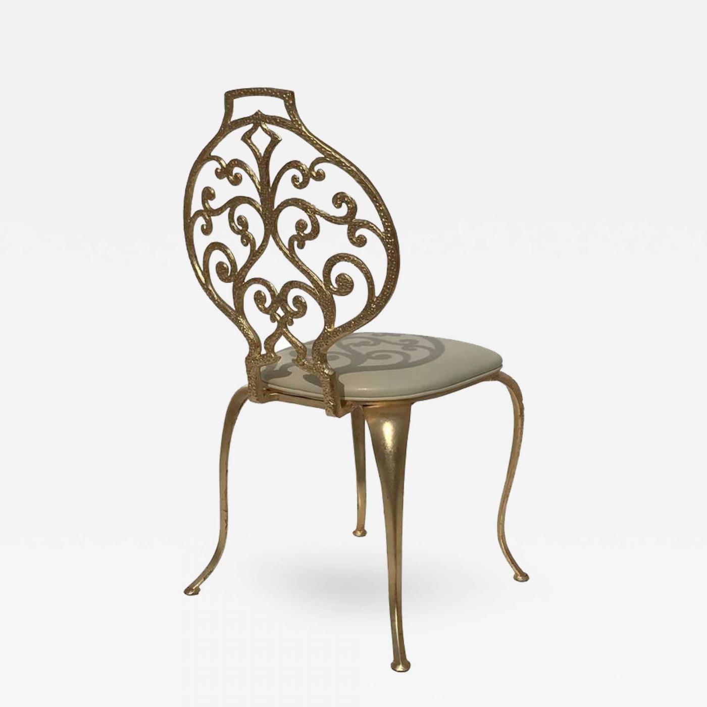 Thinline Gold Leafed Vanity Chair By Thinline Mfg