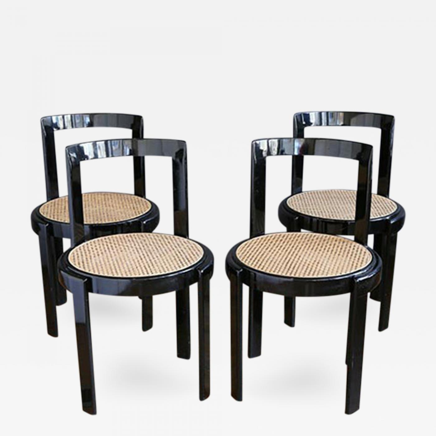 Thonet Thonet Black Lacquer & Cane Dining Chairs
