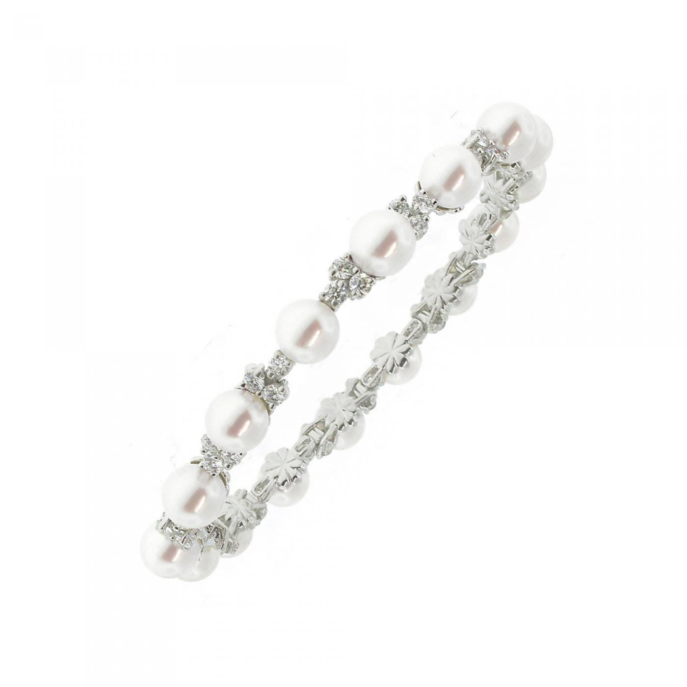 diamond with bracelet pearl multicolor gold products white and clasp black