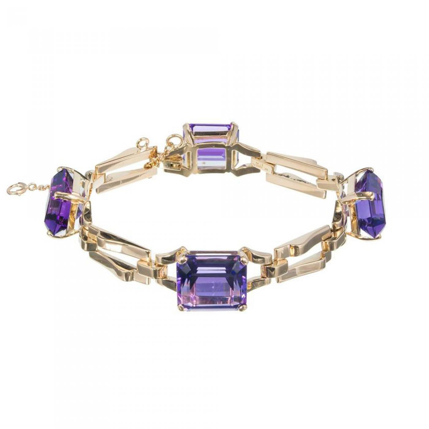 Tiffany and Co  - Tiffany & Co  Amethyst Yellow Gold Link Bracelet