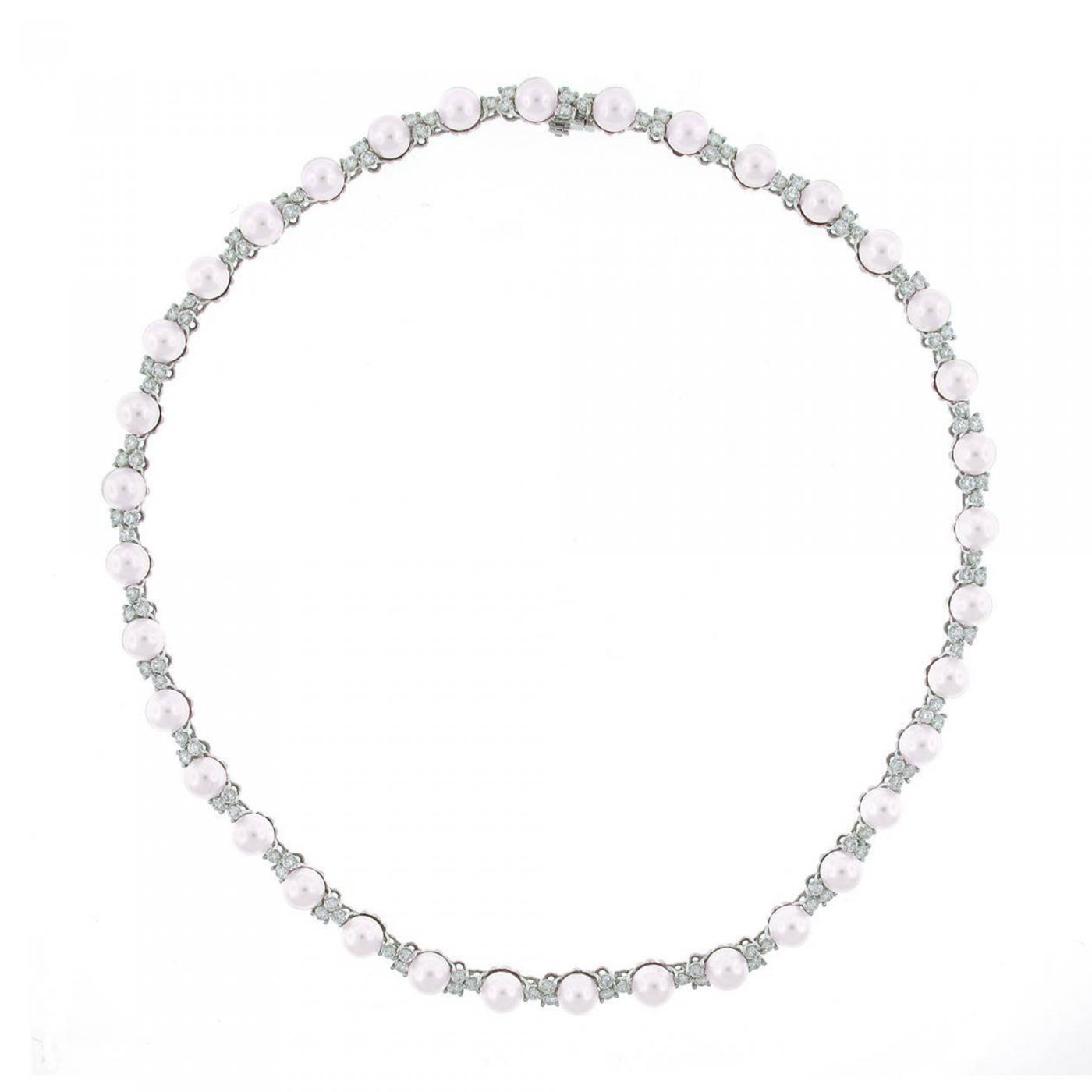 2323312dc Tiffany and Co. - Tiffany & Co. Aria Pearl Diamond Platinum Necklace