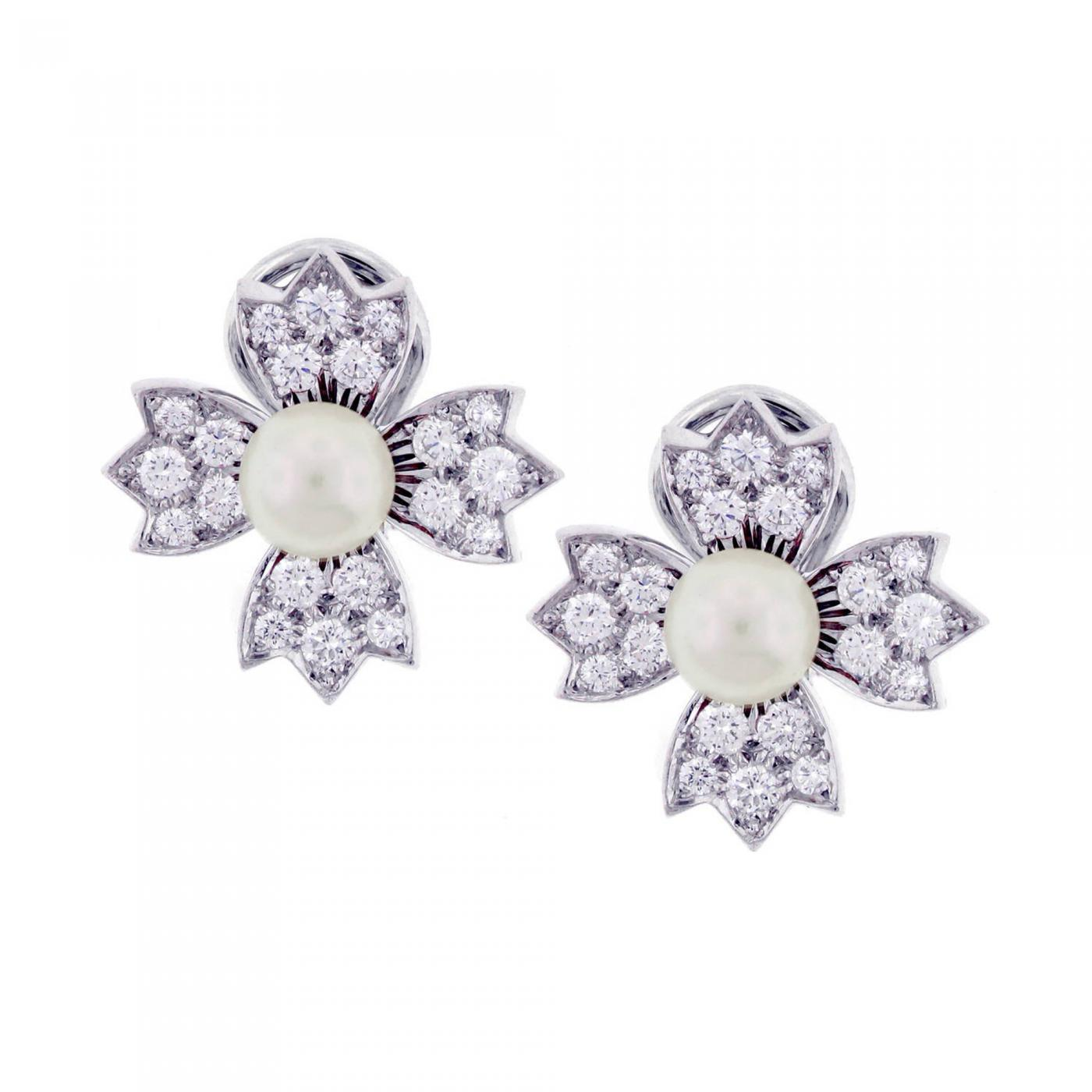 earrings and diamond platinum flower nyshowplace tiffany gold img co